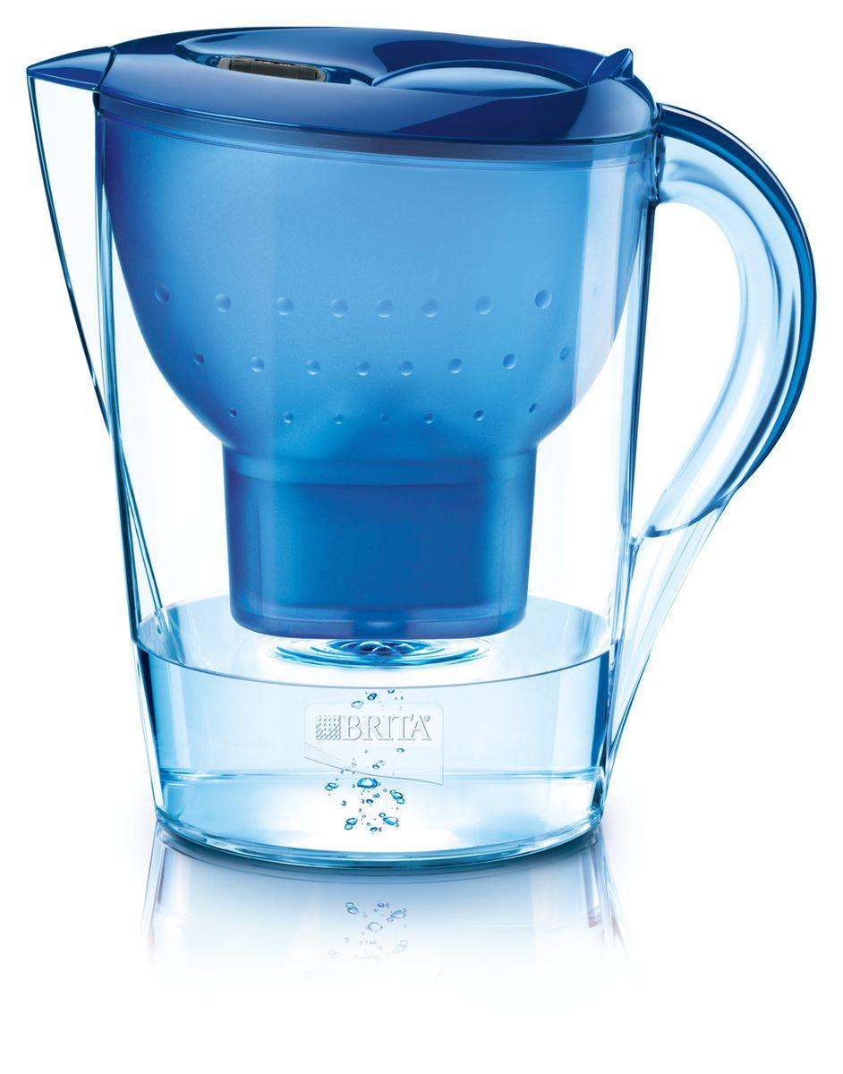 Фильтр-кувшин для воды Brita Marella XL, цвет: синий, 3,5 л100317Фильтр-кувшин Brita Marella XL, выполненный из пластика, станет необходимым помощником на вашей кухне. Вода, очищенная данным фильтром обладает рядом преимуществ: - улучшает вкус горячих и холодных напитков, - увеличивает срок службы бытовых приборов, препятствуя образованию накипи, - идеальна для приготовления вкусной и здоровой пищи, - придает более насыщенный вкус и аромат чаю и кофе. Технология картриджа Maxtra снижает содержание в воде таких веществ, как хлор, алюминий, тяжелые металлы (свинец и медь), некоторые пестициды и органические примеси. Также он отфильтровывает соли жесткости. Особенности данного фильтра: - только для Maxtra, - благодаря удобной функции (одним нажатием кнопки) заменить картридж очень просто, - откидная крышка в отверстии для заливки воды, - календарь: механический индикатор ресурса кассеты будет автоматически напоминать вам о необходимости заменить кассету через каждые 4...