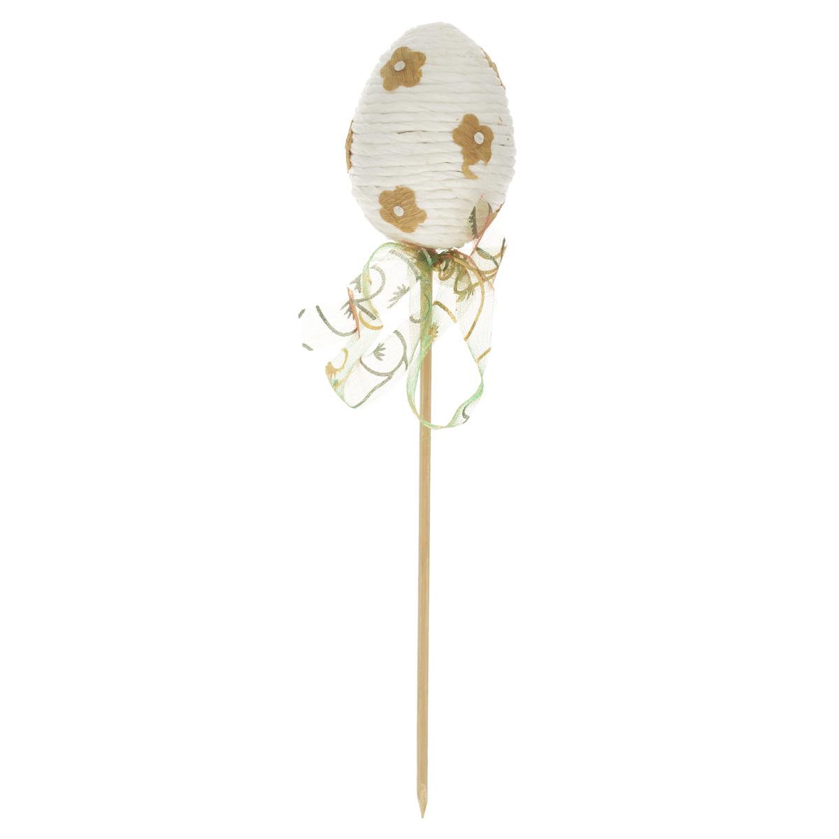 Декоративное украшение на ножке Home Queen Яйцо веселое, цвет: белый, высота 21 см60743_1Декоративное украшение Home Queen Яйцо веселое выполнено из пенопласта и бумаги в виде пасхального яйца на деревянной ножке, декорированного рельефными бумажными цветами. Изделие украшено полупрозрачной лентой. Такое украшение прекрасно дополнит подарок для друзей или близких на Пасху. Высота: 21 см. Размер яйца: 5 см х 5 см.