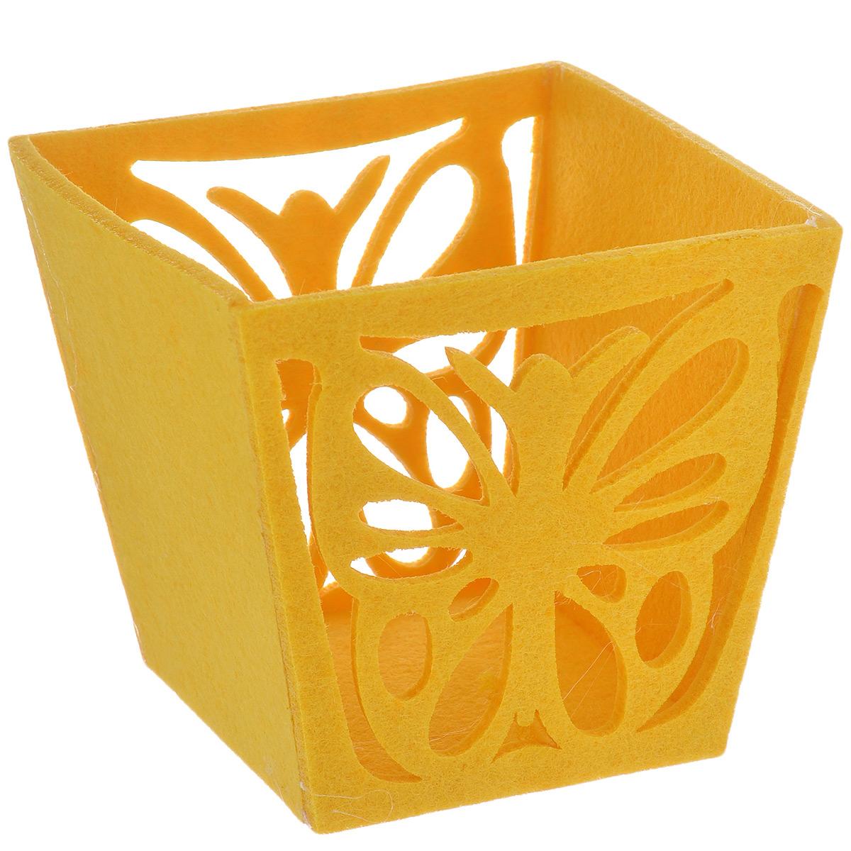 Корзинка декоративная Home Queen Бабочка, цвет: желтый, 14 см х 13 см х 12 см66833_2Декоративная корзина Home Queen Бабочка, выполненная из фетра, предназначена для хранения различных мелочей и аксессуаров. Изделие имеет красивую перфорацию в виде бабочки. Такая корзина станет оригинальным и необычным подарком или украшением интерьера. Размер корзины: 14 см х 13 см х 12 см. Размер дна: 10 см х 9,5 см.