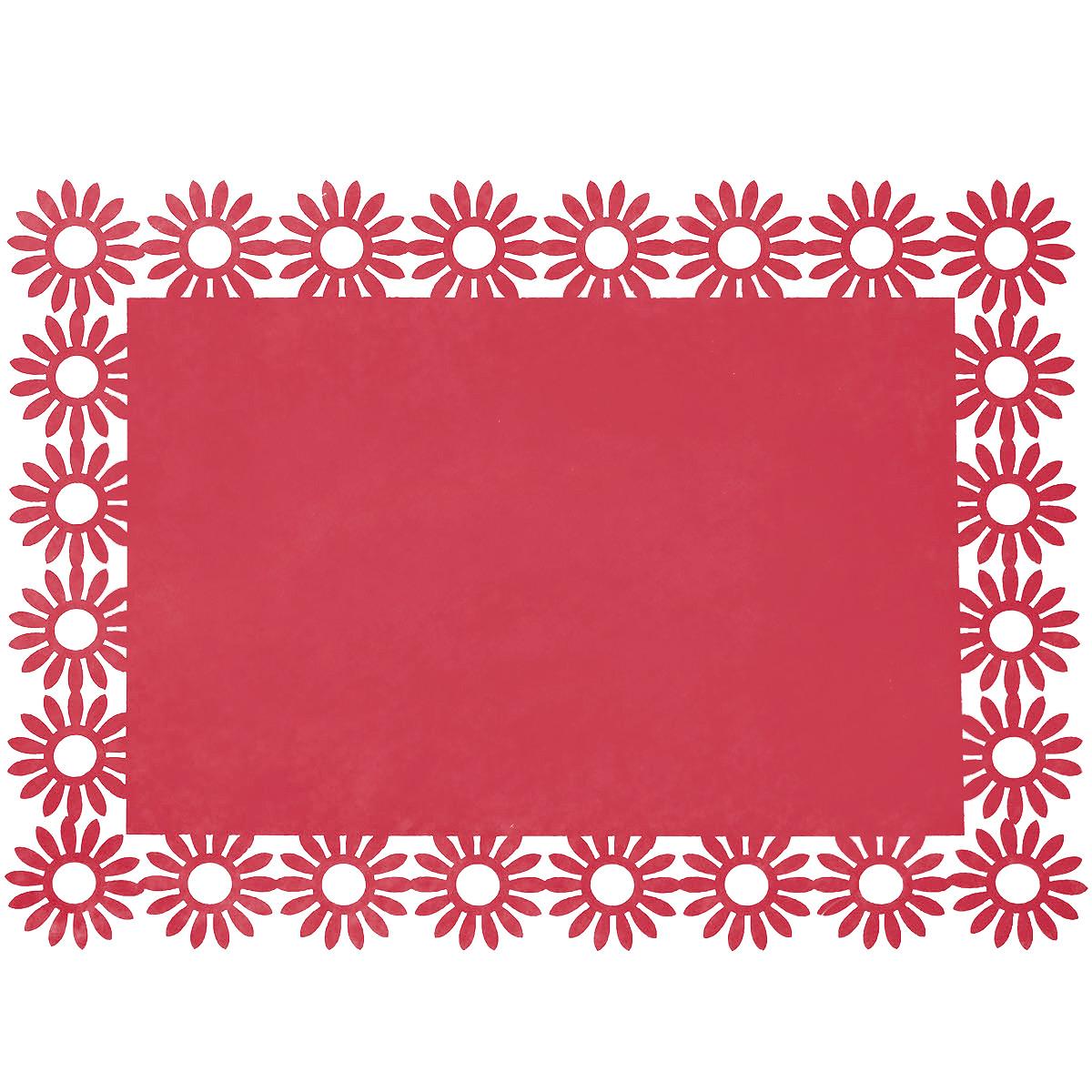 Салфетка Home Queen Веселый праздник, цвет: красный, 30 х 40 см66843_1Прямоугольная салфетка Home Queen Веселый праздник выполнена из фетра и имеет красивую перфорацию по краям. Вы можете использовать салфетку для декорирования стола, комода, журнального столика. В любом случае она добавит в ваш дом стиля, изысканности и неповторимости и убережет мебель от царапин и потертостей. Размер салфетки: 30 см х 40 см х 0,2 см.