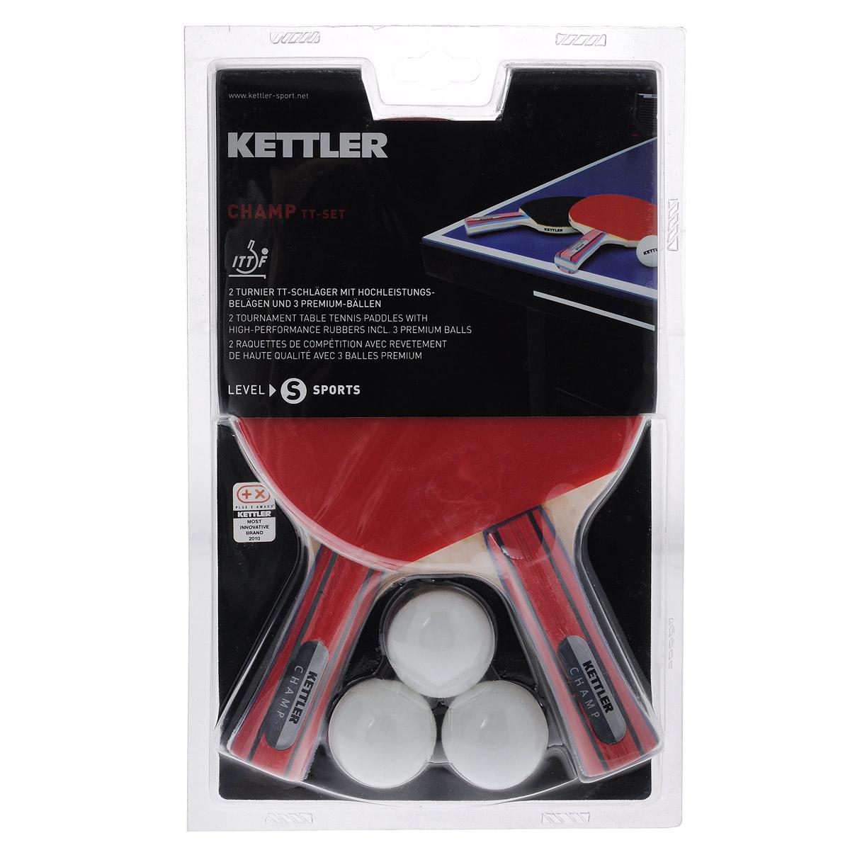 Набор для настольного тенниса Kettler Champ, 5 предметовWRA523700Набор для настольного тенниса Kettler Champ включает в себя 2 профессиональные ракетки и 3 белых мячика, предназначен для опытных игроков. Ракетки выполнены из пятислойной фанеры и оснащены накладками из резины толщиной 1,5 мм. Анатомическая рукоятка эргономичной формы специально разработана для надежного хвата и комфортной игры. Хороший контроль, отличные игровые характеристики, высокая скорость игры. В набор также входят 3 мяча (3 звезды/40 мм). Настольный теннис - спортивная игра, основанная на перекидывании мяча ракетками через игровой стол с сеткой, цель которой- не дать противнику отбить мяч.Игра в настольный теннис развивает концентрацию, внимание, ловкость и координацию. Длина ракетки: 25 см. Диаметр шара: 4 см. Класс: S. Скорость: 80%. Вращение: 70%. Контроль: 60%.