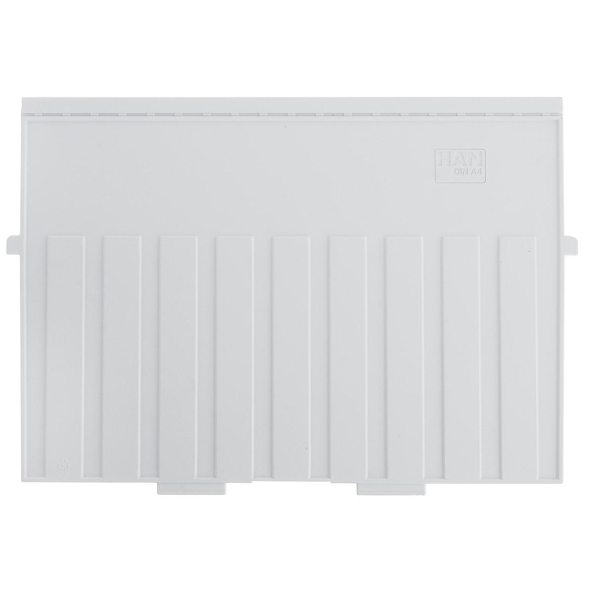 Разделитель для горизонтальной картотеки Han, цвет: серый. Формат А4HA9024/11Разделитель для картотеки Han изготовлен из пластика серого цвета. Предназначен для горизонтальных картотек HAN. Имеется специальное поле для установки индексного окна (сверху).