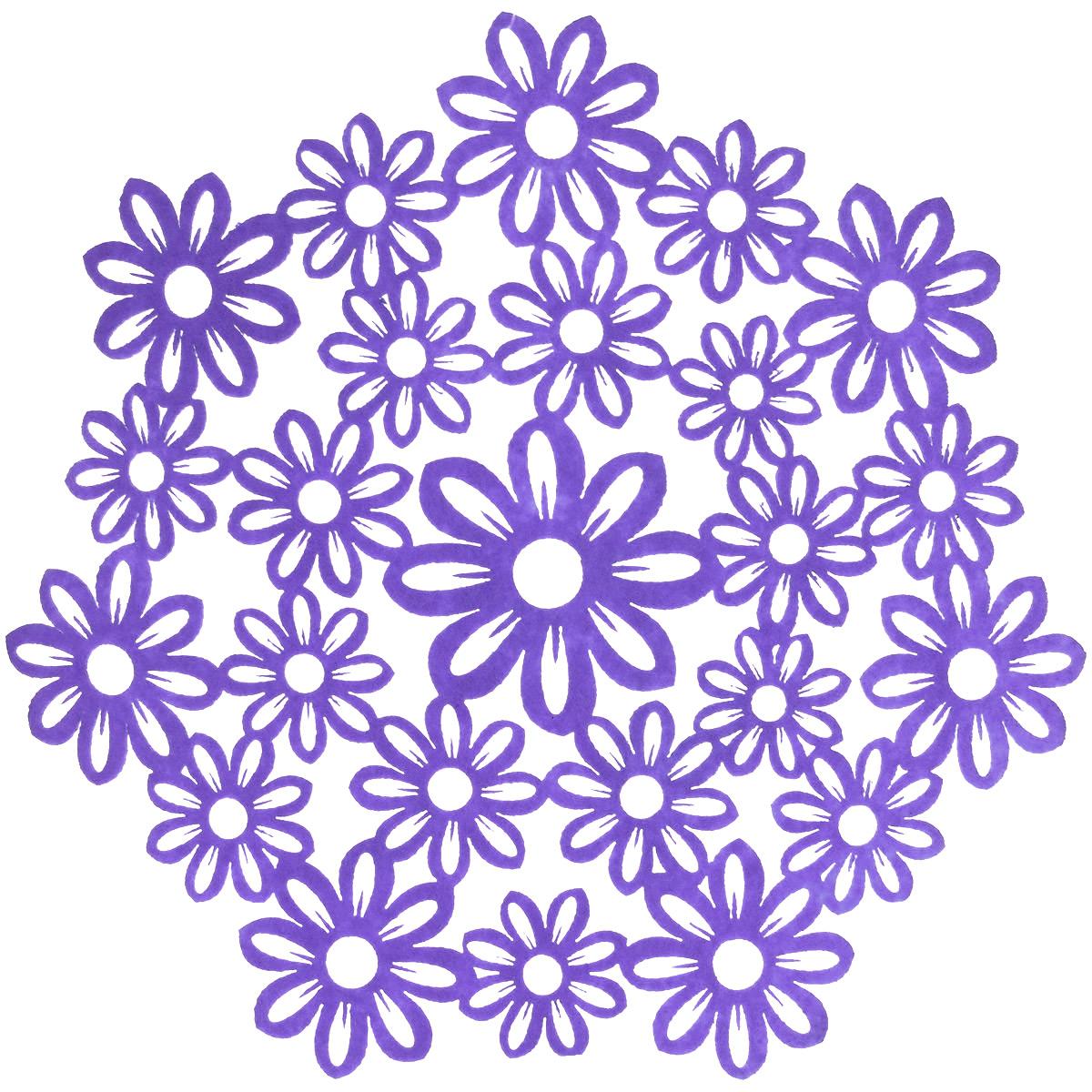 Салфетка Home Queen Незабудки, цвет: фиолетовый, диаметр 28 см66840_4Круглая салфетка Home Queen Незабудки выполнена из фетра и оснащена красивой перфорацией в виде цветов. Вы можете использовать салфетку для декорирования стола, комода, журнального столика. В любом случае она добавит в ваш дом стиля, изысканности и неповторимости и убережет мебель от царапин и потертостей. Диаметр салфетки: 28 см.