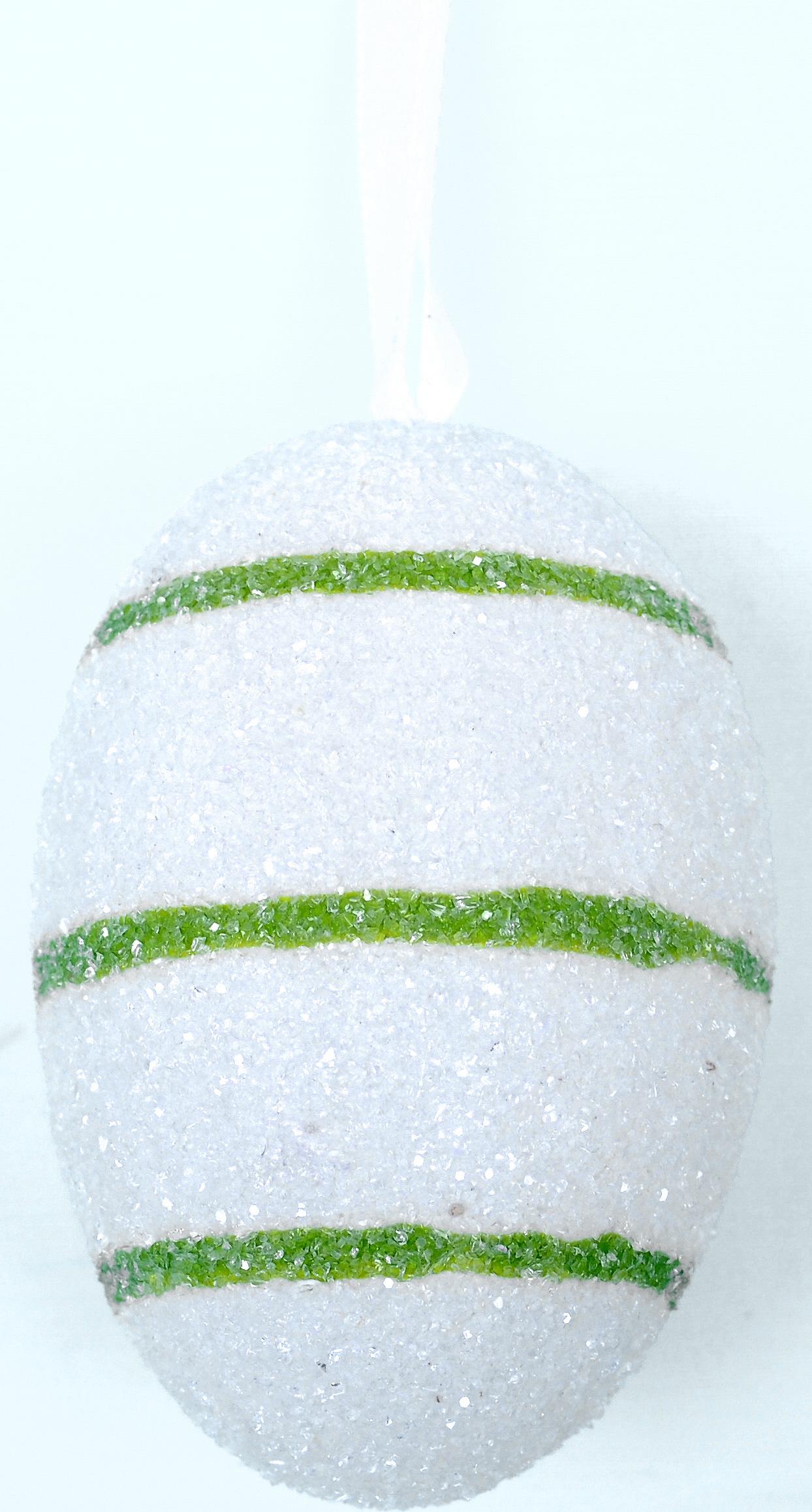 Декоративное подвесное украшение Home Queen Яйцо. Полоска, цвет: белый. 60783_160783_1Подвесное украшение Home Queen Яйцо. Полоска, выполненное в форме яйца, изготовлено из пластика и декорировано блестками. Изделие оснащено текстильной петелькой для подвешивания. Такое украшение прекрасно оформит интерьер дома или станет замечательным подарком для друзей и близких на Пасху. Размер яйца: 4 см х 4 см х 6 см.