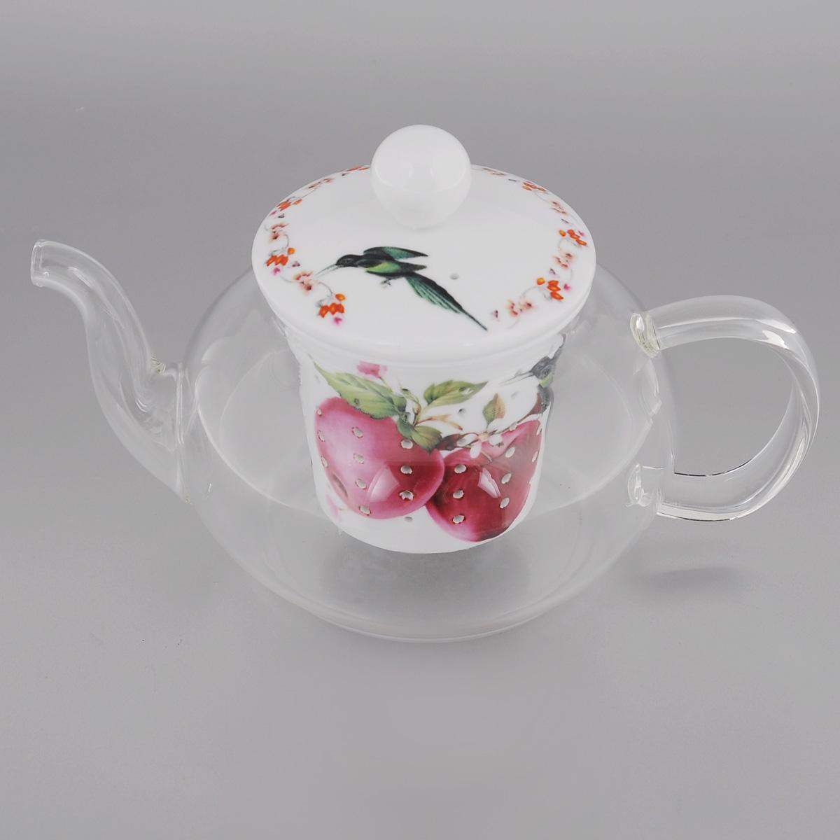 Чайник заварочный Lillo Яблоко, 600 млAW 12_яблокоЗаварочный чайник Lillo Яблоко изготовлен из жаропрочного стекла, которое хорошо удерживает тепло, даже если стенки достаточно тонкие. Чайник снабжен крышкой и съемным фильтром для заварки, выполненными из керамики с изящным изображением красных яблок. Благодаря маленьким отверстиям фильтр предотвращает попадание чаинок и листочков в настой. Чайник сочетает в себе оригинальный дизайн и функциональность. Он поможет заварить вкусный и аромат чай, а стильный дизайн красиво дополнит сервировку стола к чаепитию. Объем: 600 мл. Диаметр (по верхнему краю): 7 см. Высота чайника: 7,5 см. Высота фильтра: 6,5 см.