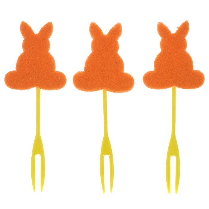 Набор декоративных вилочек Home Queen Кролик для украшения кулича, цвет: оранжевый, длина 10 см, 3 шт60722оранжевыйНабор Home Queen Кролик, изготовленный из пластика и фетра, состоит из трех декоративных вилочек, предназначенных для украшения пасхального кулича. Изделия декорированы фигурками кроликов. Такой набор прекрасно дополнит оформление праздничного стола на Пасху. Размер фигурки: 4 см х 4 см.