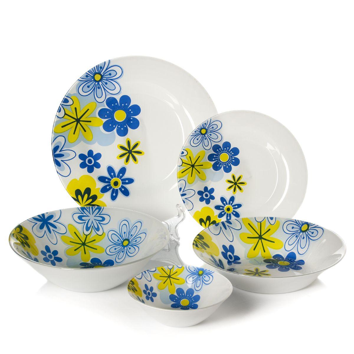Набор столовый Pasabahce Spring, цвет: белый, голубой, 25 предметов95665BСтоловый набор Pasabahce Spring состоит из шести суповых тарелок, шести десертных тарелок, шести обеденных тарелок и семи салатников. Предметы набора выполнены из натрий-кальций-силикатного стекла, благодаря чему посуда будет использоваться очень долго, при этом сохраняя свой внешний вид. Предметы набора имеют повышенную термостойкость. Набор создаст отличное настроение во время обеда, будет уместен на любой кухне и понравится каждой хозяйке. Красочное оформление предметов набора придает ему оригинальность и торжественность. Практичный и современный дизайн делает набор довольно простым и удобным в эксплуатации. Предметы набора можно мыть в посудомоечной машине. Диаметр суповой тарелки: 22 см. Высота стенок суповой тарелки: 5 см. Диаметр обеденной тарелки: 26 см. Диаметр десертной тарелки: 19,5 см. Диаметр большого салатника: 23 см. Высота стенок большого салатника: 7 см. Диаметр салатника: 14 см. Высота стенок...