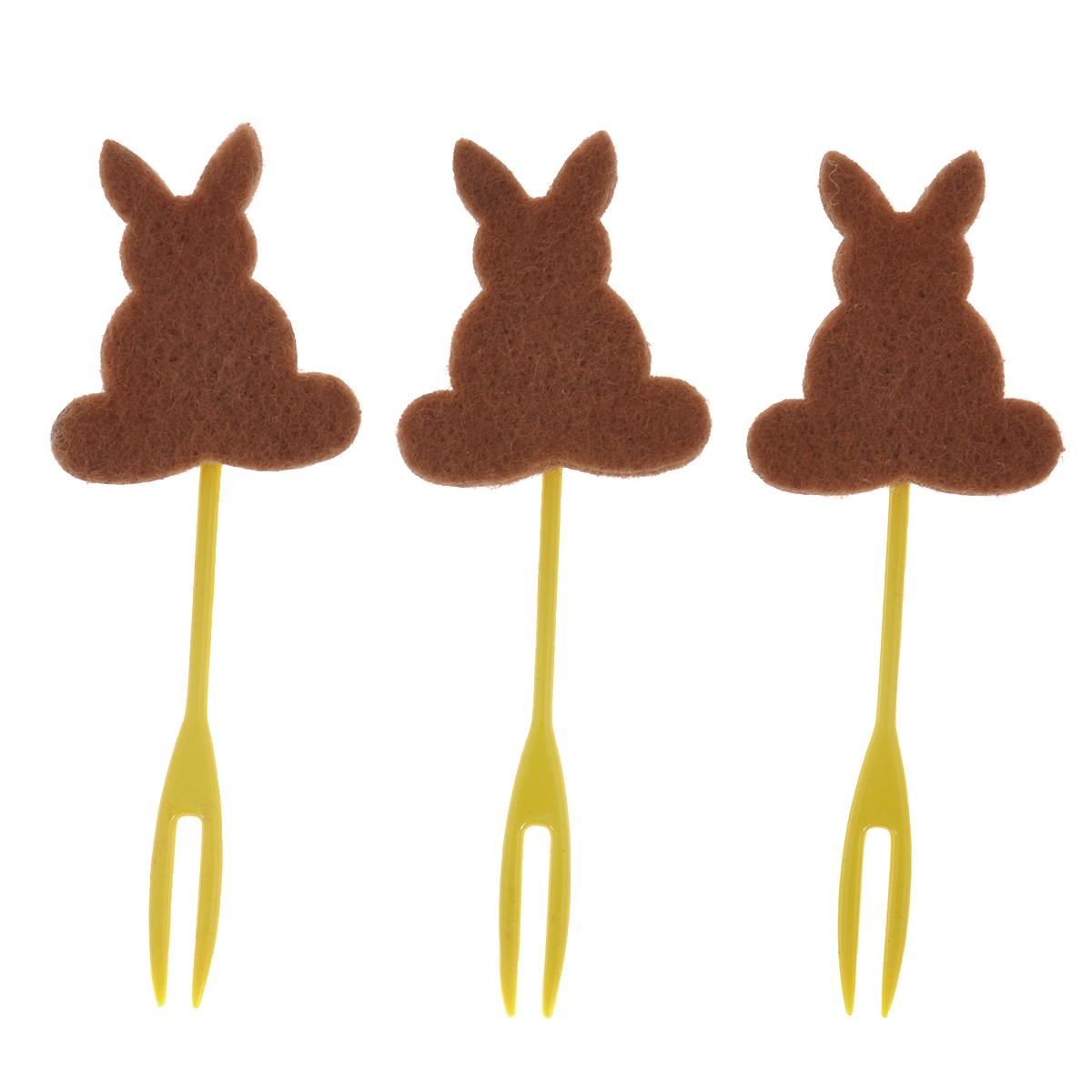 Набор декоративных вилочек Home Queen Кролик для украшения кулича, цвет: коричневый, длина 10 см, 3 шт60722коричневыйНабор Home Queen Кролик, изготовленный из пластика и фетра, состоит из трех декоративных вилочек, предназначенных для украшения пасхального кулича. Изделия декорированы фигурками кроликов. Такой набор прекрасно дополнит оформление праздничного стола на Пасху. Размер фигурки: 4 см х 4 см.