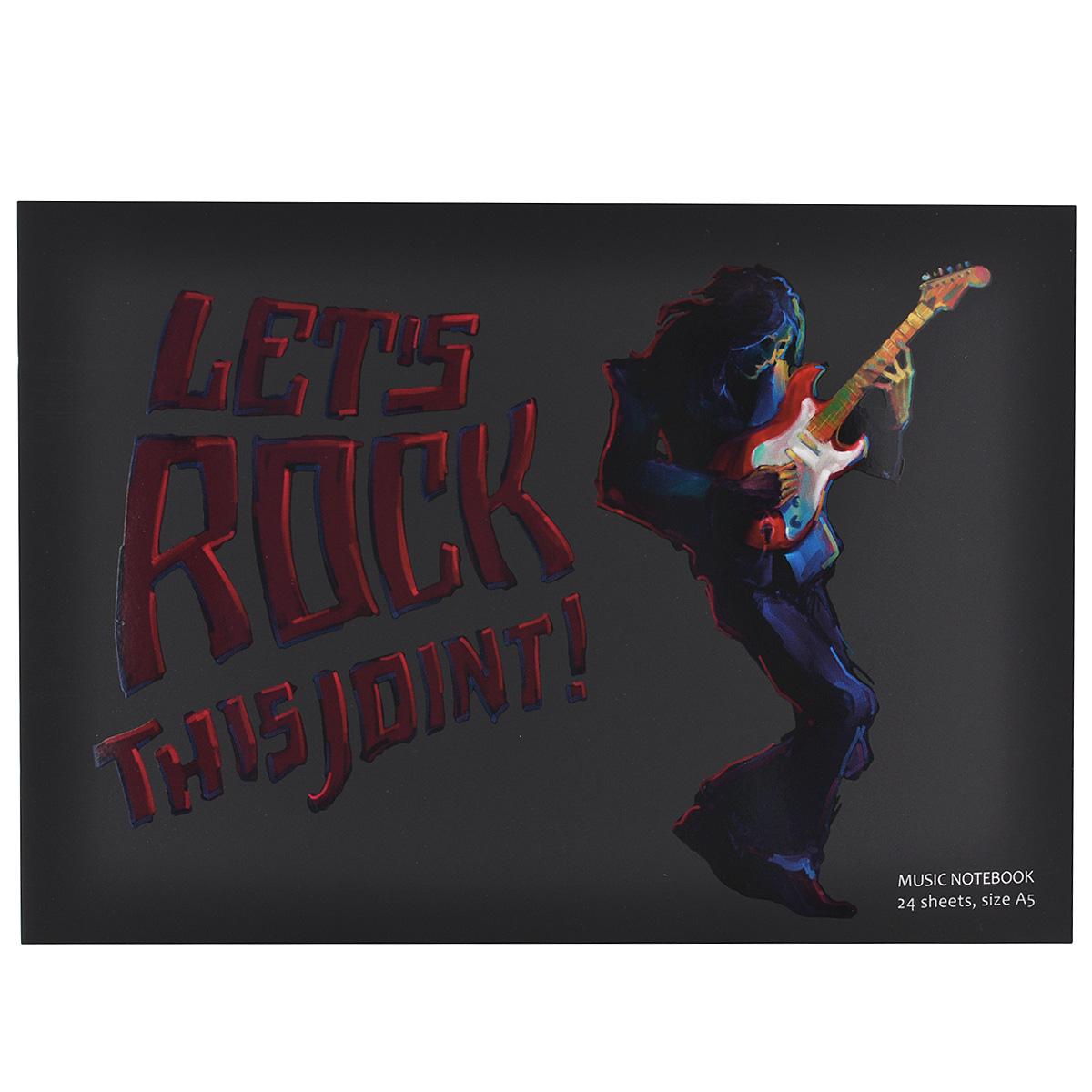 Тетрадь для нот Гитарист, 24 листа. Формат А5SMA510-V8-ETТетрадь для нот Гитарист - отличный помощник в обучении музыке. Обложка выполнена из картона черного цвета и оформлена изображением гитариста и надписью Lets Rock This Joint. Внутренний блок включает 24 листа с нотными станами.