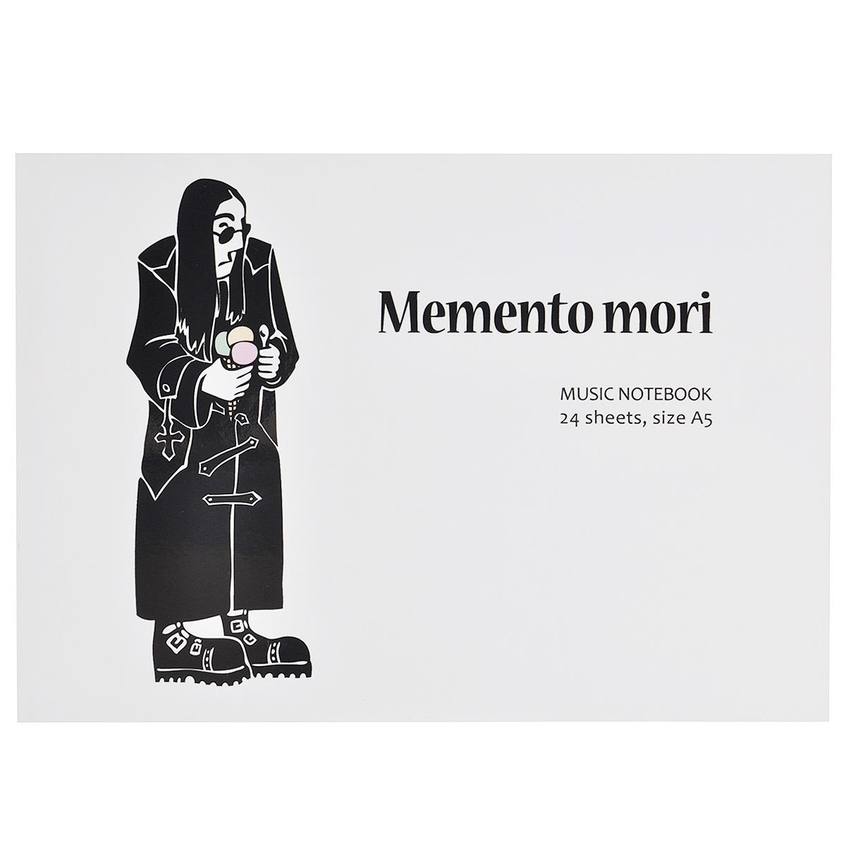 Тетрадь для нот Memento Mori, 24 листа. Формат А5M-Track 2X2MТетрадь для нот Memento Mori - отличный помощник в обучении музыке. Обложка выполнена из картона и оформлена изображением человека в черном плаще с мороженым в руке. Внутренний блок включает 24 листа с нотными станами.