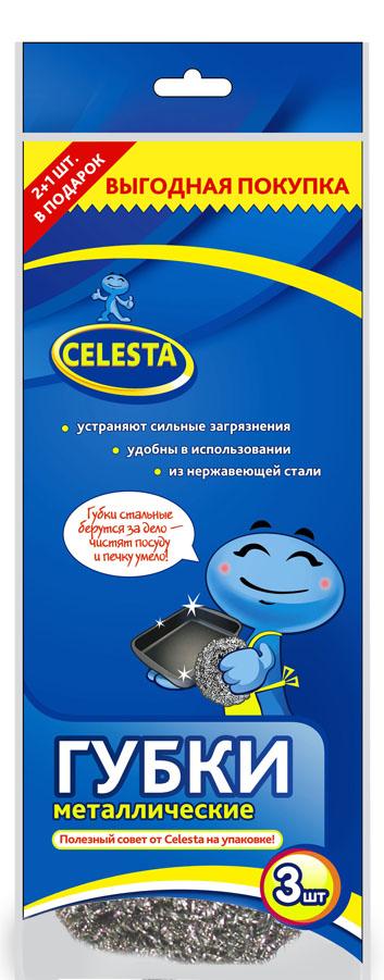 Губки для мытья посуды Celesta, металлические, 3 шт5719Губки для мытья посуды Celesta изготовлены из нержавеющей стали и предназначены для удаления особо стойких загрязнений. Идеально подходят для очистки гриля, барбекю. Не использовать для посуды с тефлоновым покрытием. Изделие не колет руки, не ржавеет и не теряет форму. Диаметр губки: 8 см.