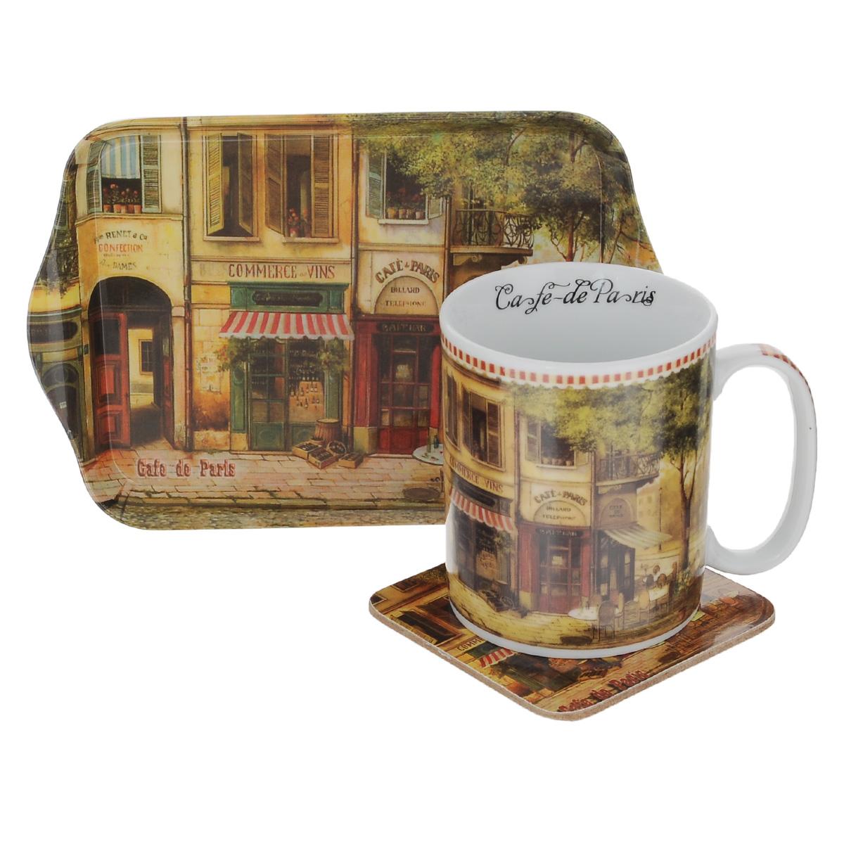 Набор чайный GiftnHome Парижское кафе, 3 предметаM07048/3 -CdPЧайный набор GiftnHome Парижское кафе состоит из кружки, подноса и подставки под кружку. Все изделия декорированы красочным изображением. Кружка изготовлена из высококачественного фарфора и оснащена удобной ручкой. Поднос изготовлен из высококачественного пластика и предназначен для красивой сервировки стола. Подставка под кружку изготовлена из пробки. Ламинированное покрытие подставки обеспечивает стойкость к высоким температурам. Такая подставка защитит поверхность стола от загрязнений и воздействия высоких температур напитка. Оригинальный набор порадует вас своим дизайном и станет неизменным атрибутом чаепития. Чайный набор GiftnHome Парижское кафе прекрасно подойдет в качестве сувенира и привнесет индивидуальности в обычную сервировку стола. Диаметр кружки: 8 см. Высота: 9,5 см. Объем: 300 мл. Размер подноса: 21 см х 14 см х 1,7 см. Размер подставки: 10 см х 10 см х 2 см.