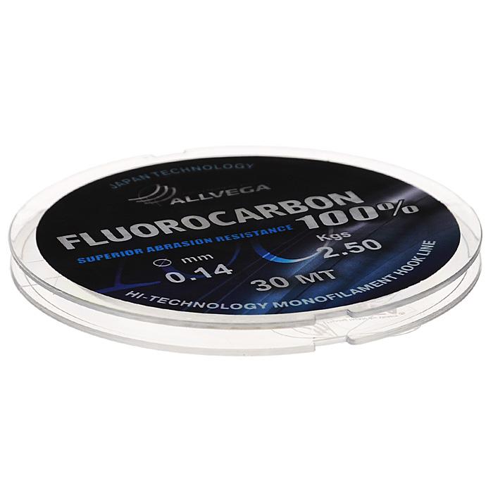Леска Allvega FX Fluorocarbon 100%, цвет: прозрачный, 30 м, 0,14 мм, 2,5 кг36257Allvega FX Fluorocarbon 100% имеет коэффициент преломления света, близкий к коэффициенту преломления света воды, поэтому эта леска незаметна в воде и незаменима во многих случаях. Широко используется в качестве поводковой лески, как для мирных рыб, так и для хищников. Кроме прозрачности, так же обладает высокой устойчивостью к внешним механическим воздействиям, таким как камни, песок, ракушечник, зубы хищников. Обладает малой растяжимостью, что позволяет более четко определять поклевку и просекать рыбу.