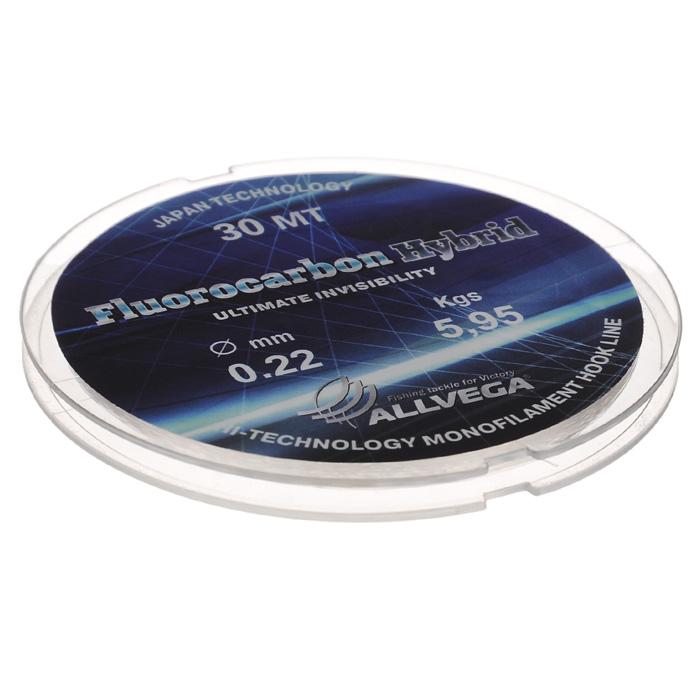 Леска Allvega Fluorocarbon Hybrid, цвет: прозрачный, 30 м, 0,22 мм, 5,95 кг10948Прозрачная леска Allvega Fluorocarbon Hybrid, состоящая из 65 % флюрокарбона. Флюрокарбоновое покрытие позволяет максимально повысить характеристики, при этом цена лески остается относительно низкой.