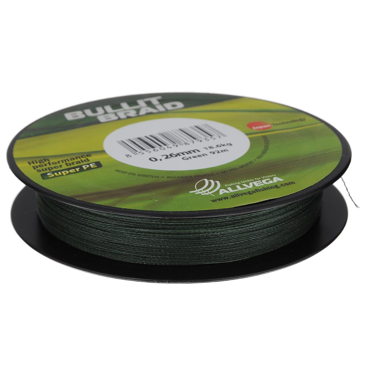 Леска плетеная Allvega Bullit Braid, цвет: темно-зеленый, 92 м, 0,26 мм, 18,6 кг218032Леска Allvega Bullit Braid разработана с учетом новейших японских технологий в сфере строения волокон. Благодаря микроволокнам полиэтилена (Super PE) леска имеет очень плотное плетение, не впитывает воду, имеет гладкую круглую поверхность и одинаковое сечение по всей длине.
