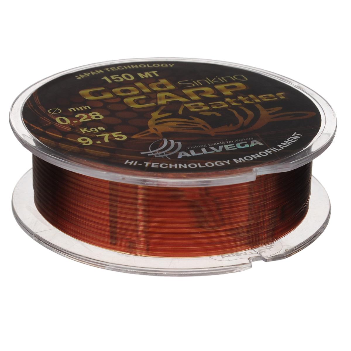 Леска Allvega Gold Karp Battler, цвет: коричневый, 150 м, 0,28 мм, 9,75 кг218032Карповая леска Allvega Gold Karp Battler была разработана для ловли действительно крупной рыбы. Способна противостоять большим нагрузкам в условиях густой растительности и коряжнике. Специальный цвет имеет неоднородную структуру, что позволяет быть не заметной на дне. Хорошо тонет, что является важным критерием для выбора карповой лески.