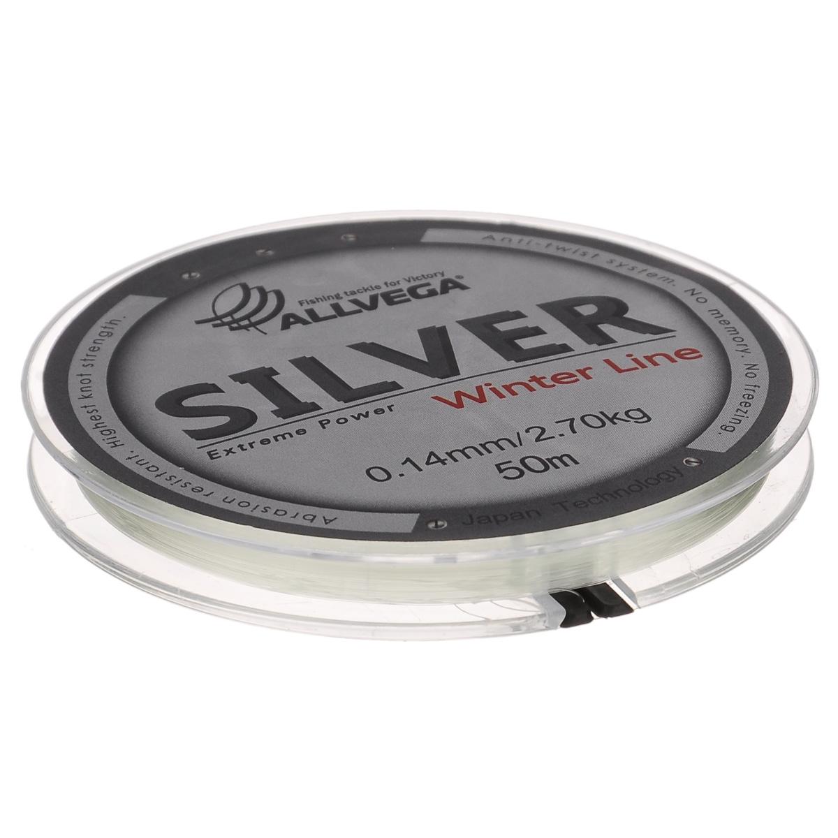 Леска Allvega Silver, цвет: серебристый, 50 м, 0,14 мм, 2,7 кг03/1/12Специальная зимняя леска Allvega Silver предназначена для использования во время низких температур. Имеет светло-серый, серебристый оттенок. Высокопрочная. Отсутствие механической памяти позволяет с успехом использовать ее для ловли на мормышку.