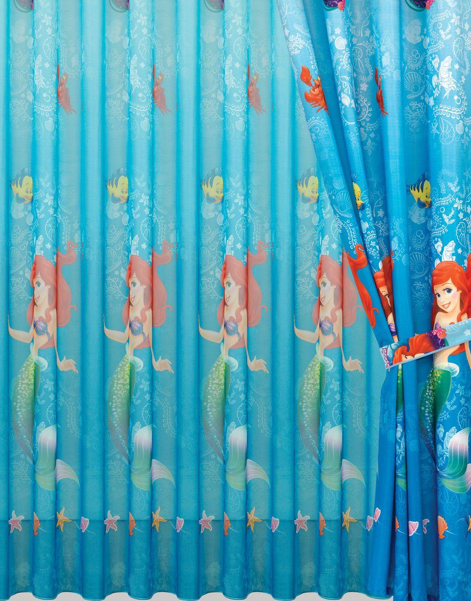 Комплект штор Mona Liza Русалочка, цвет: синий, высота 265 см500750/3Полотно на люверсах Mona Liza Русалочка станет достойным украшением комнаты маленькой принцессы. Яркое изображение любимой героини мультфильма не оставит равнодушным вашего ребенка и будет идеальным дополнением интерьера детской комнаты. В комплект входит: Штора - 2 шт. Размер (Ш х В): 150 см х 265 см. Тюль - 1 шт. Размер (Ш х В): 300 см х 265 см. Внутренний диаметр люверс 4 см. Комплект штор выполнен из полиэстера.