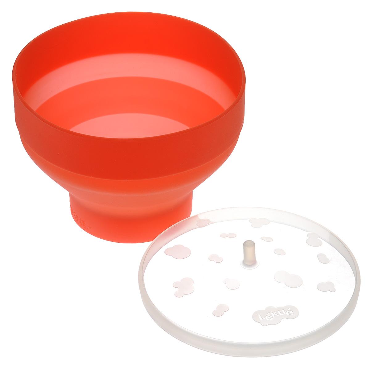 Форма для попкорна Lekue с крышкой, цвет: красный, 2,8 л0200226R10M017Форма для попкорна Lekue выполнена из высококачественного цветного силикона. Внутри формы имеются отметки, обозначающие до какого уровня необходимо насыпать кукурузу. В комплекте силиконовая крышка. Пару минут и большой стакан горячего, ароматного и свежего попкорна уже у вас! Насладитесь вкусом приготовленной на пару домашней и питательной воздушной кукурузой. Изящный дизайн и красочность оформления набора придутся по вкусу и ценителям классики, и тем, кто предпочитает утонченность и изысканность. Высота формы: 14 см.