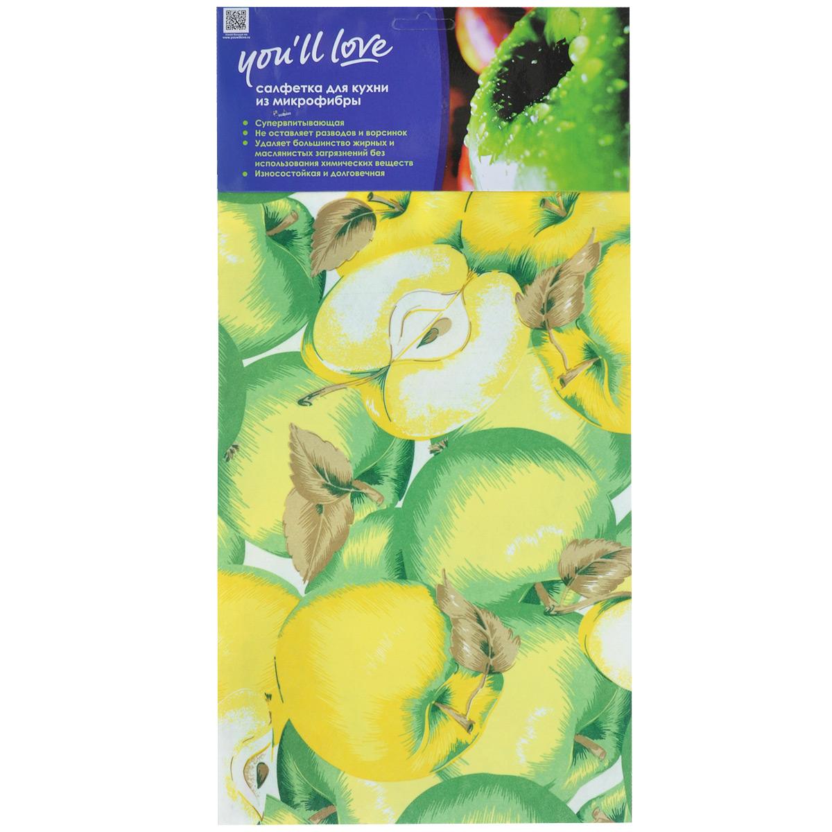Салфетка для кухни Youll Love Яблоко, цвет: зеленый, желтый, 40 см х 60 см10503Салфетка Youll Love Яблоко, изготовленная из микрофибры (80% полиэстера и 20% полиамида), предназначена для очищения загрязнений на любых поверхностях. Изделие обладает высокой износоустойчивостью и рассчитано на многократное использование, легко моется в теплой воде с мягкими чистящими средствами. Супервпитывающая салфетка не оставляет разводов и ворсинок, удаляет большинство жирных и маслянистых загрязнений без использования химических средств. Размер салфетки: 40 см х 60 см.