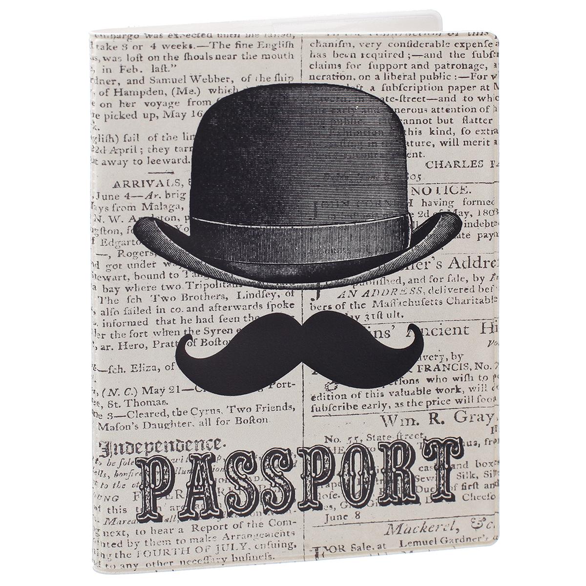 Обложка для паспорта Джентльмен, цвет: серый, черный. 3567435674Обложка для паспорта Джентльмен не только поможет сохранить внешний вид ваших документов и защитить их от повреждений, но и станет стильным аксессуаром, идеально подходящим вашему образу. Обложка выполнена из поливинилхлорида и оформлена оригинальным изображением джентельменских усов и шляпы. Внутри имеет два вертикальных кармана из прозрачного пластика. Такая обложка поможет вам подчеркнуть свою индивидуальность и неповторимость!