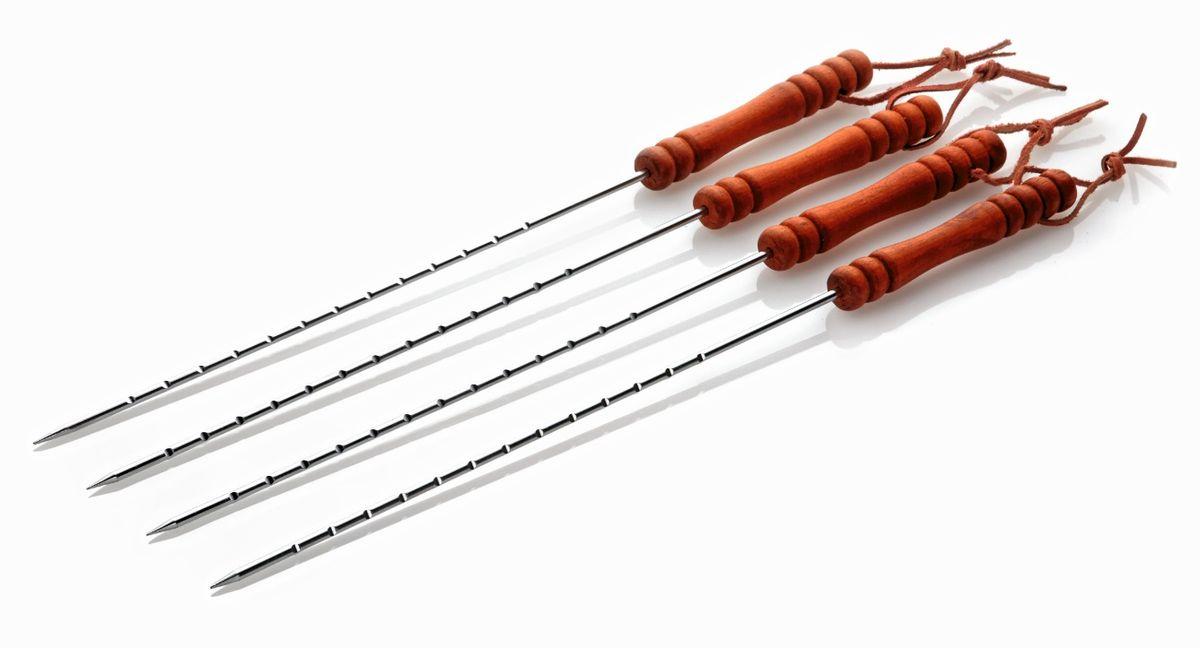 Набор шампуров Cook King, длина 45 см, 4 штRUC-01Набор шампуров Cook King состоит из 4 шампуров. Стержень изделия круглый, выполнен из нержавеющей стали и оснащен несколькими насечками для удобного использования. Удобные деревянные рукоятки обеспечивают надежный хват и защищают руки от ожогов. Рукоятки оснащены текстильными шнурками для подвешивания на крючок. Шампуры - незаменимый атрибут шашлыка, круглый стержень со слегка заостренным кончиком и удобные рукоятки обеспечивает комфорт и безопасность во время эксплуатации.