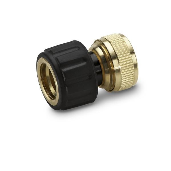 Коннектор латунный для шлангов Karcher, с аквастопом, 1/2, 5/8 2.645-017.0106-029Быстросъемный коннектор Karcher с функцией аквастоп предназначен для соединения шлангов 1/2, 5/8. Выполнен из латуни, что обеспечивает ему долгий срок эксплуатации. Коннектор имеет накладку из мягкого полимера дляповышения удобства и долговечности.