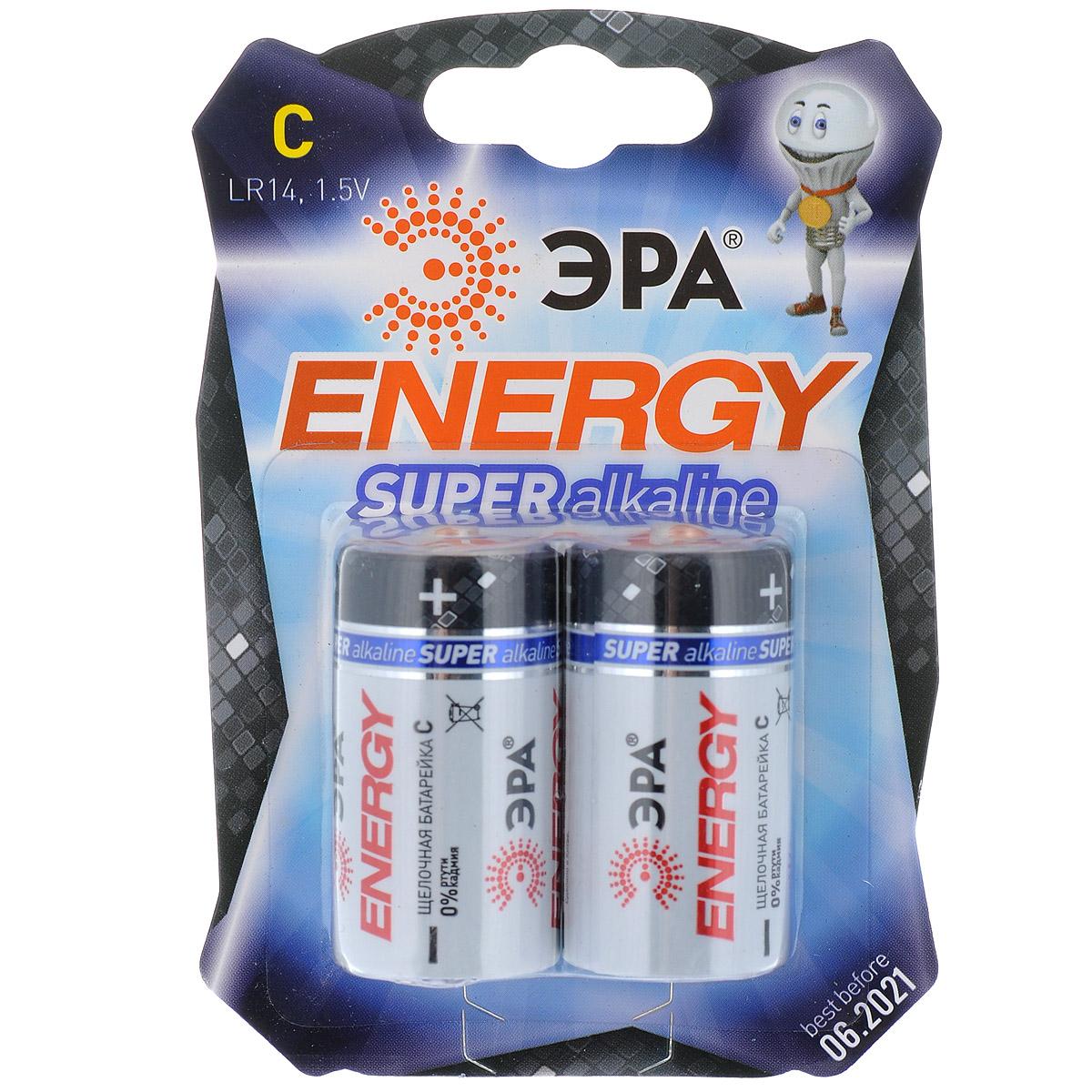 Батарейка алкалиновая ЭРА Energy, тип C (LR14), 1,5В, 2 шт5055398600993Щелочные (алкалиновые) батарейки ЭРА Energy оптимально подходят для повседневного питания множества современных бытовых приборов: электронных игрушек, фонарей, беспроводной компьютерной периферии и многого другого. Батарейки созданы для устройств со средним и высоким потреблением энергии. Работают в 10 раз дольше, чем обычные солевые элементы питания. В комплекте - 2 батарейки. Размер батарейки: 2,5 см х 4,6 см.
