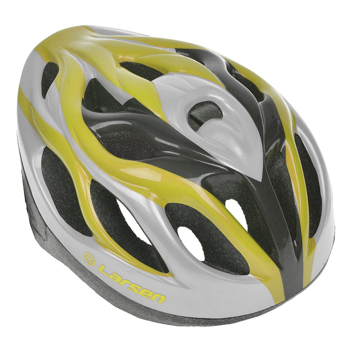 Шлем роликовый Larsen H3BW, цвет: желтый, серебристый. Размер L (54-57 см)WRA523700Надежный роликовый шлем Larsen H3BW сделает ваш активный отдых безопасным.Шлем выполнен из прочного пластика и отлично защищает от травм. Внутренняя сторона шлема оснащена мягкими текстильными накладками, которые обеспечивают надежное прилегание шлема и комфорт при использовании. Шлем имеет систему систему вентиляции. Он отлично сядет по голове, благодаря регулируемым ремешкам и практичному механическому регулятору.Роликовый шлем станет незаменимым дополнением для полноценного летнего отдыха и занятия активными видами спорта.