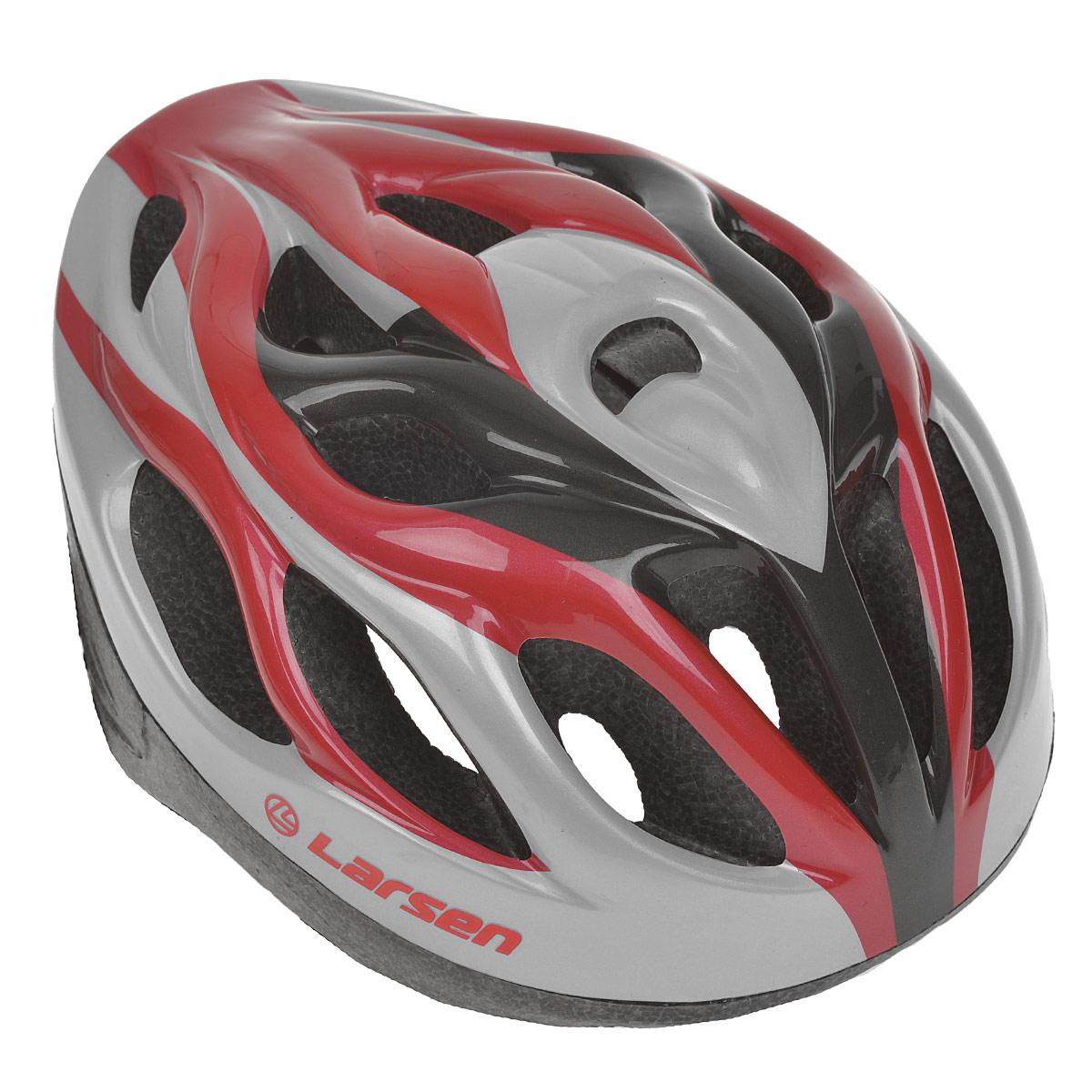 Шлем роликовый Larsen H3BW, цвет: красный, серебристый. Размер L (54-57 см)286910Надежный роликовый шлем Larsen H3BW сделает ваш активный отдых безопасным. Шлем выполнен из прочного пластика и отлично защищает от травм. Внутренняя сторона шлема оснащена мягкими текстильными накладками, которые обеспечивают надежное прилегание шлема и комфорт при использовании. Шлем имеет систему систему вентиляции. Он отлично сядет по голове, благодаря регулируемым ремешкам и практичному механическому регулятору. Роликовый шлем станет незаменимым дополнением для полноценного летнего отдыха и занятия активными видами спорта.