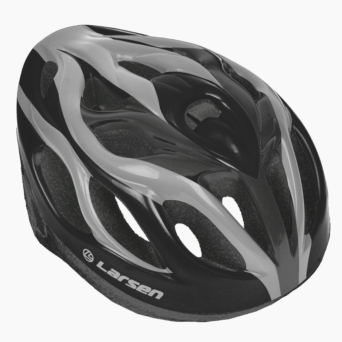 Шлем роликовый Larsen H3BW, цвет: черный, серебристый. Размер L (54-57 см)202511Надежный роликовый шлем Larsen H3BW сделает ваш активный отдых безопасным. Шлем выполнен из прочного пластика и отлично защищает от травм. Внутренняя сторона шлема оснащена мягкими текстильными накладками, которые обеспечивают надежное прилегание шлема и комфорт при использовании. Шлем имеет систему систему вентиляции. Он отлично сядет по голове, благодаря регулируемым ремешкам и практичному механическому регулятору. Роликовый шлем станет незаменимым дополнением для полноценного летнего отдыха и занятия активными видами спорта.