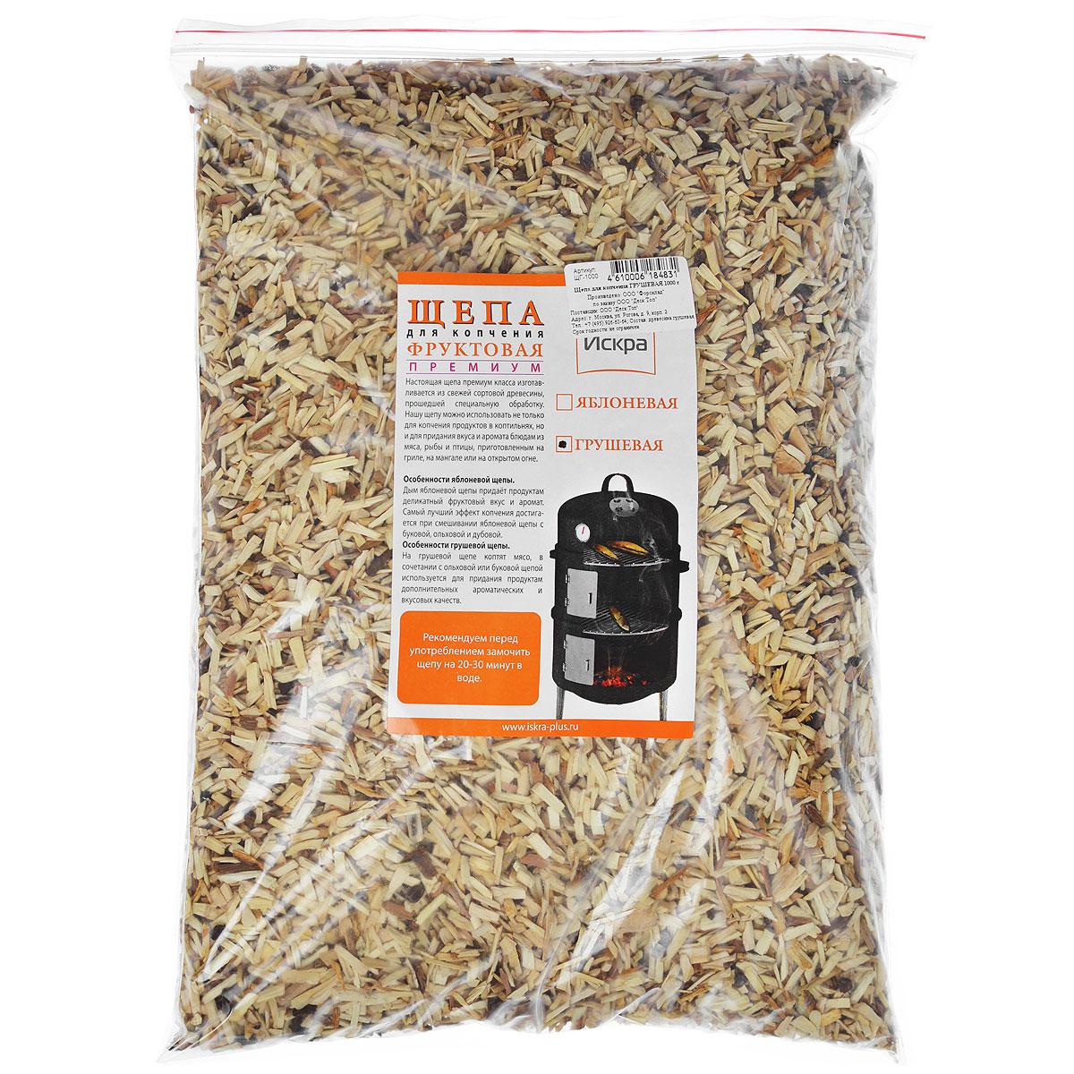 Щепа для копчения Искра Грушевая, 1 кгЩГ-1000Щепа для копчения премиум класса Искра Грушевая, изготовлена из свежей сортовой древесины, прошедшей специальную обработку. Ее можно использовать не только для копчения продуктов в коптильнях, но и для придания вкуса и аромата блюдам из мяса, рыбы и птицы, приготовленным на гриле, мангале или на открытом огне. Рекомендуется перед употреблением замочить щепу на 20-30 минут в воде. Фракция 3-8 мм; Влажность 15-20%. <br Вес: 1 кг.