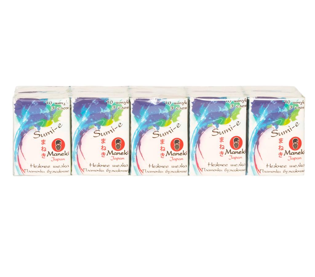 Maneki Платочки бумажные Sumi-e 3 слоя, 10 шт. в пачке, без аромата, 10 пачек5010777142037произведены из 100% целлюлозыкомпактная упаковкаотличная впитываемостьмягкие, не вызывают раздражения кожи приятная на ощупь текстура