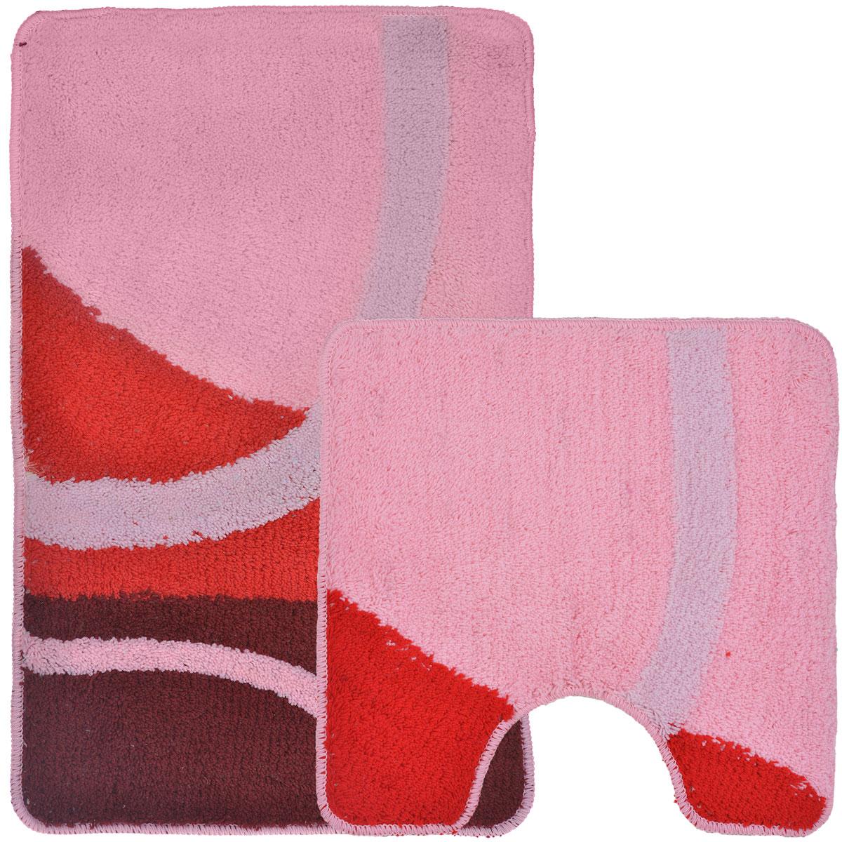 Комплект ковриков для ванной и туалета Fresh Code, цвет: розовый, красный, 2 предмета55010розовыйКомплект Fresh Code состоит из коврика для ванной комнаты и туалета. Коврики изготовлены из акрила и оформлены узором. Это экологически чистый, быстросохнущий, мягкий и износостойкий материал. Красители устойчивы, поэтому коврики не потускнеют даже после многократных стирок в стиральной машине. Благодаря латексной основе коврики не скользят на полу. Края изделий обработаны оверлоком. Можно использовать на полу с подогревом. Набор для ванной Fresh Code подарит ощущение тепла и комфорта, а также привнесет уют в вашу ванную комнату. Высота ворса: 1 см. Размер коврика для ванной комнаты: 80 см х 50 см. Размер коврика для туалета: 50 см х 50 см.