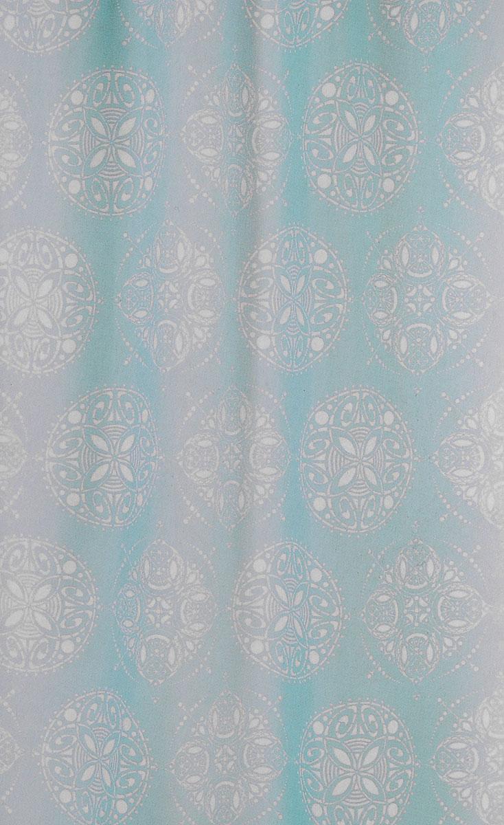 Штора для ванной комнаты White Fox Восток, цвет: бирюзовый, белый, 180 х 200 смWBCH10-307Штора для ванной комнаты White Fox Восток выполнена из полиэстера с водоотталкивающей и антибактериальной пропиткой. В нижний край вшит утяжелитель змейка, который обладает большой гибкостью и не теряет своих свойств после стирки. Рисунок нанесен по специальной водозащитной технологии, позволяющей максимально долго сохранять первичные цвета. Штора украшена оригинальным узором. В комплекте прилагаются 12 фигурных пластиковых колец в форме С. Штора для ванной комнаты White Fox Восток удобна и проста в уходе. Можно стирать при температуре не выше +30°C и гладить при температуре до +110°C. Штора для ванной комнаты является прекрасным украшением для ванной комнаты и надежной защитой от разбрызгивания воды.