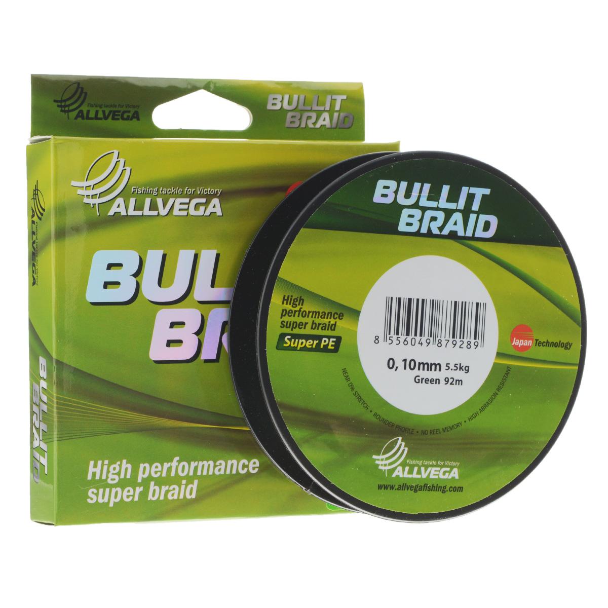 Леска плетеная Allvega Bullit Braid, цвет: темно-зеленый, 92 м, 0,10 мм, 5,5 кг21419Леска Allvega Bullit Braid с гладкой поверхностью и одинаковым сечением по всей длине обладает высокой износостойкостью. Благодаря микроволокнам полиэтилена (Super PE) леска имеет очень плотное плетение и не впитывает воду. Леску Allvega Bullit Braid можно применять в любых типах водоемов. Особенности: - повышенная износостойкость; - высокая чувствительность - коэффициент растяжения близок к нулю; - отсутствует память; - идеально гладкая поверхность позволяет увеличить дальность забросов; - высокая прочность шнура на узлах.