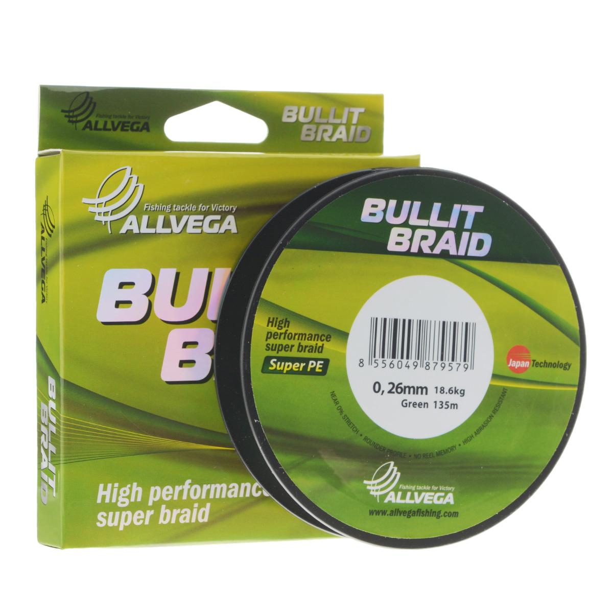"Леска плетеная Allvega ""Bullit Braid"", цвет: темно-зеленый, 135 м, 0,26 мм, 18,6 кг 21446"