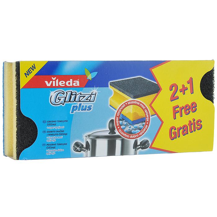 Набор губок для кастрюль Vileda Glitzi Plus, 3 шт321107171Набор Vileda Glitzi Plus состоит из 3 губок, предназначенных для мытья металлической посуды и рабочих поверхностей. За счет добавления кристаллов кварца в абразивный слой изделия обладают усиленными чистящими свойствами. Углубления на боковых сторонах защищают ногти и позволяют удобно держать губку. Синяя тканевая сторона вытирает посуду, а также служит для удаления остатков загрязнения. Материал: полиуретан, абразив, вискоза. Комплектация: 3 шт. Размер губки: 9 см х 7 см х 4,5 см.