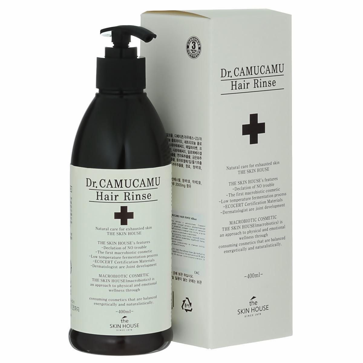 The Skin House Лечебный бальзам для волос DR. Camucamu hair rinse, 400 млУТ000001221Кондиционер для волос делает волосы мягкими и шелковистыми. Содержит ферментированный экстракт рисовых отрубей, который является запатентованным компонентом TheSkinHouse. Этот экстракт увлажняет, очищает скальп от излишков себума и контролирует перхоть. Натуральный очиститель освежает кожу головы, а так же питает волосы от корней до самых кончиков, делая их красивыми и здоровыми. Содержит комплекс ингредиентов: экстракт корня пиона, тигровой лилии, цветков лотоса, цветков жимолости японской, цветков хризантемы индийской, тыквы, листьев алоэ барбаденсис, ягод асаи и плодов мирциарии.