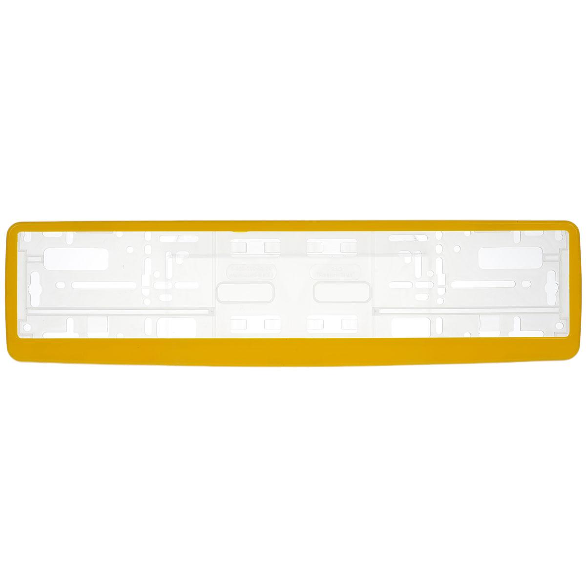 Рамка под номер Концерн Знак, цвет: желтыйЗ0000014567Рамка Концерн Знак не только закрепит регистрационный знак на вашем автомобиле, но и красиво его оформит. Основание рамки выполнено из полипропилена, материал лицевой панели - пластик. Она предназначена для крепления регистрационного знака российского и европейского образца. Устанавливается на все типы автомобилей. Крепления в комплект не входят. Стильный дизайн идеально впишется в экстерьер вашего автомобиля. Размер рамки: 53,5 см х 13,5 см. Размер регистрационного знака: 52,5 см х 11,5 см.