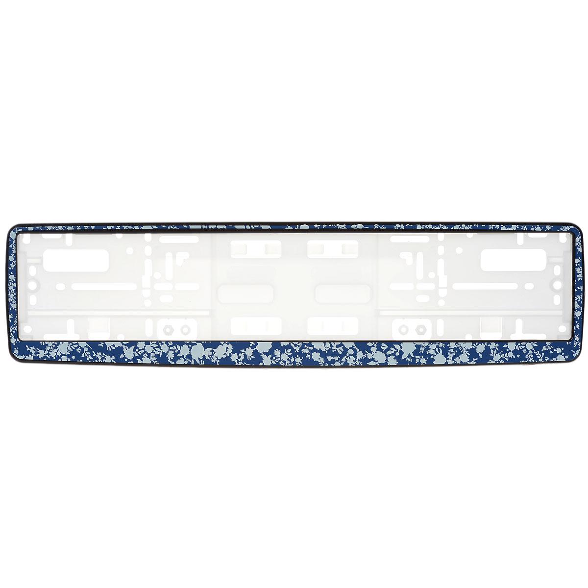 Рамка под номер Синие цветыЗ0000014184Рамка Синие цветы не только закрепит регистрационный знак на вашем автомобиле, но и красиво его оформит. Основание рамки выполнено из полипропилена, материал лицевой панели - пластик. Она предназначена для крепления регистрационного знака российского и европейского образца, декорирована орнаментом. Устанавливается на все типы автомобилей. Крепления в комплект не входят. Стильный дизайн идеально впишется в экстерьер вашего автомобиля. Размер рамки: 53,5 см х 13,5 см. Размер регистрационного знака: 52,5 см х 11,5 см.
