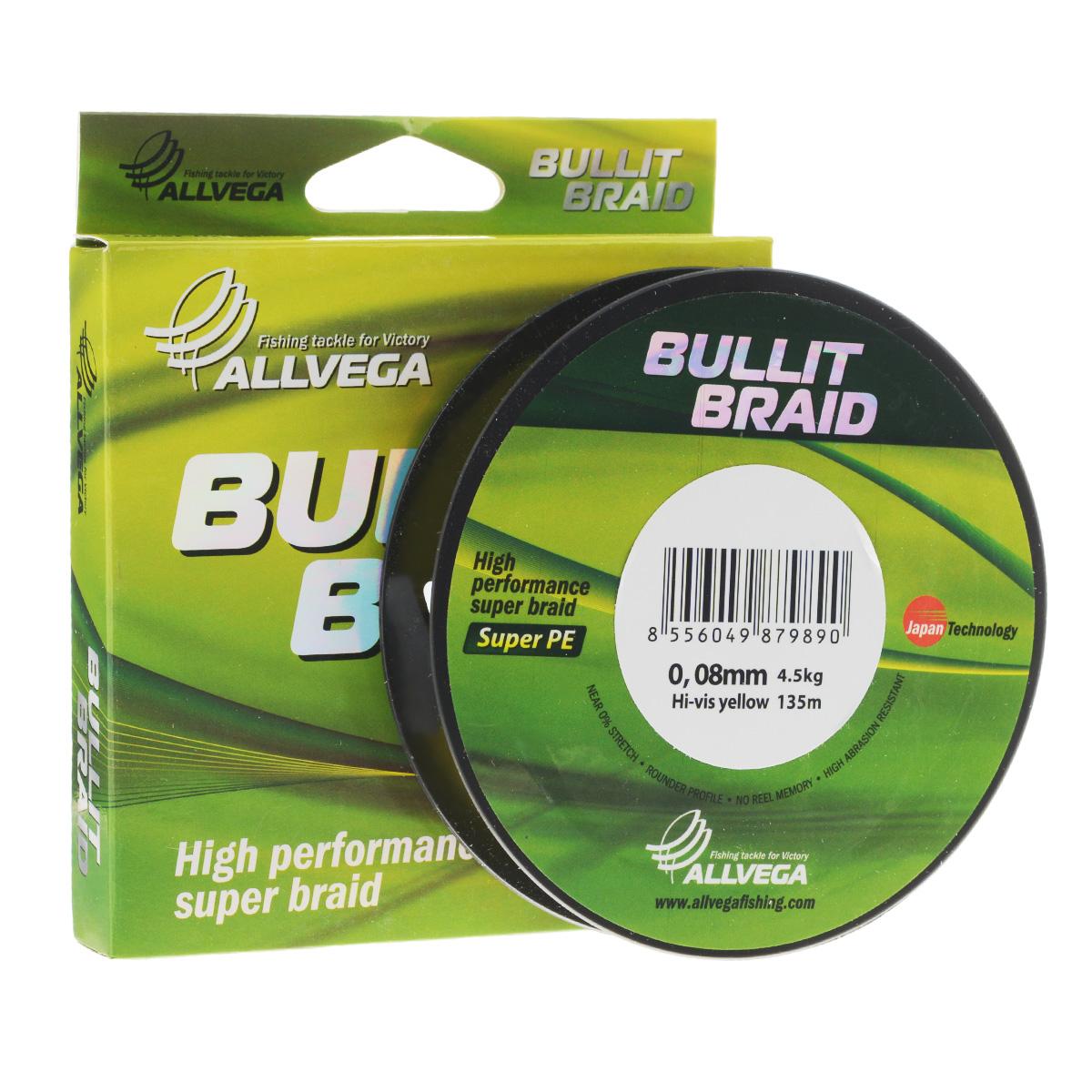 Леска плетеная Allvega Bullit Braid, цвет: ярко-желтый, 135 м, 0,08 мм, 4,5 кг31759Леска Allvega Bullit Braid с гладкой поверхностью и одинаковым сечением по всей длине обладает высокой износостойкостью. Благодаря микроволокнам полиэтилена (Super PE) леска имеет очень плотное плетение и не впитывает воду. Леску Allvega Bullit Braid можно применять в любых типах водоемов. Особенности: повышенная износостойкость; высокая чувствительность - коэффициент растяжения близок к нулю; отсутствует память; идеально гладкая поверхность позволяет увеличить дальность забросов; высокая прочность шнура на узлах.
