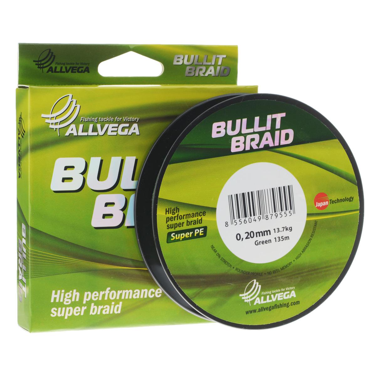 Леска плетеная Allvega Bullit Braid, цвет: темно-зеленый, 135 м, 0,20 мм, 13,7 кг21444Леска Allvega Bullit Braid с гладкой поверхностью и одинаковым сечением по всей длине обладает высокой износостойкостью. Благодаря микроволокнам полиэтилена (Super PE) леска имеет очень плотное плетение и не впитывает воду. Леску Allvega Bullit Braid можно применять в любых типах водоемов. Особенности: повышенная износостойкость; высокая чувствительность - коэффициент растяжения близок к нулю; отсутствует память; идеально гладкая поверхность позволяет увеличить дальность забросов; высокая прочность шнура на узлах.