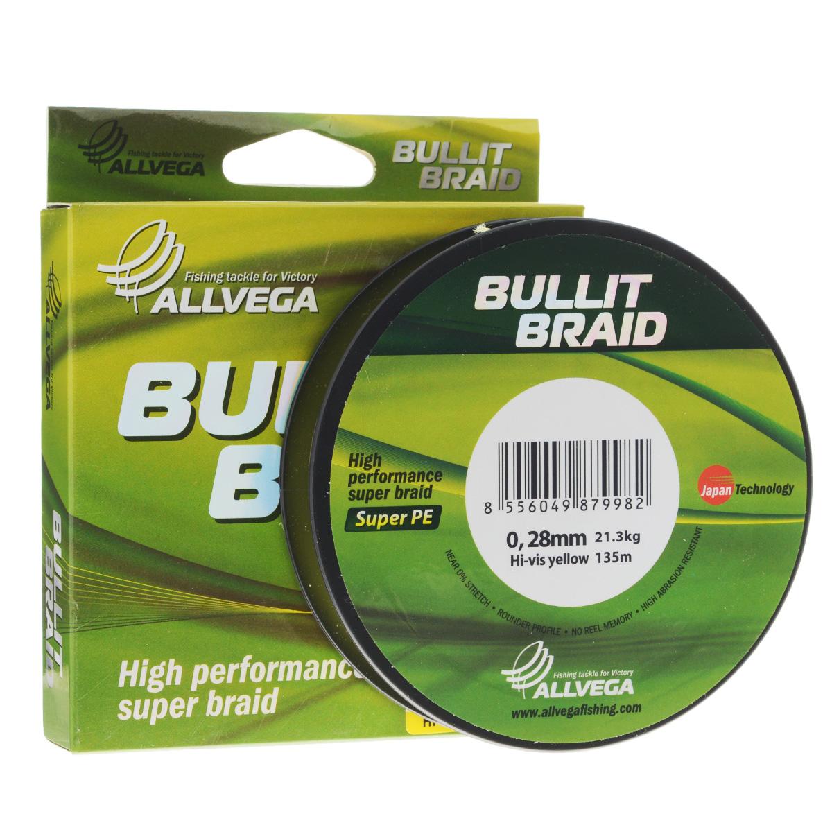 Леска плетеная Allvega Bullit Braid, цвет: ярко-желтый, 135 м, 0,28 мм, 21,3 кг21457Леска Allvega Bullit Braid с гладкой поверхностью и одинаковым сечением по всей длине обладает высокой износостойкостью. Благодаря микроволокнам полиэтилена (Super PE) леска имеет очень плотное плетение и не впитывает воду. Леску Allvega Bullit Braid можно применять в любых типах водоемов. Особенности: повышенная износостойкость; высокая чувствительность - коэффициент растяжения близок к нулю; отсутствует память; идеально гладкая поверхность позволяет увеличить дальность забросов; высокая прочность шнура на узлах.
