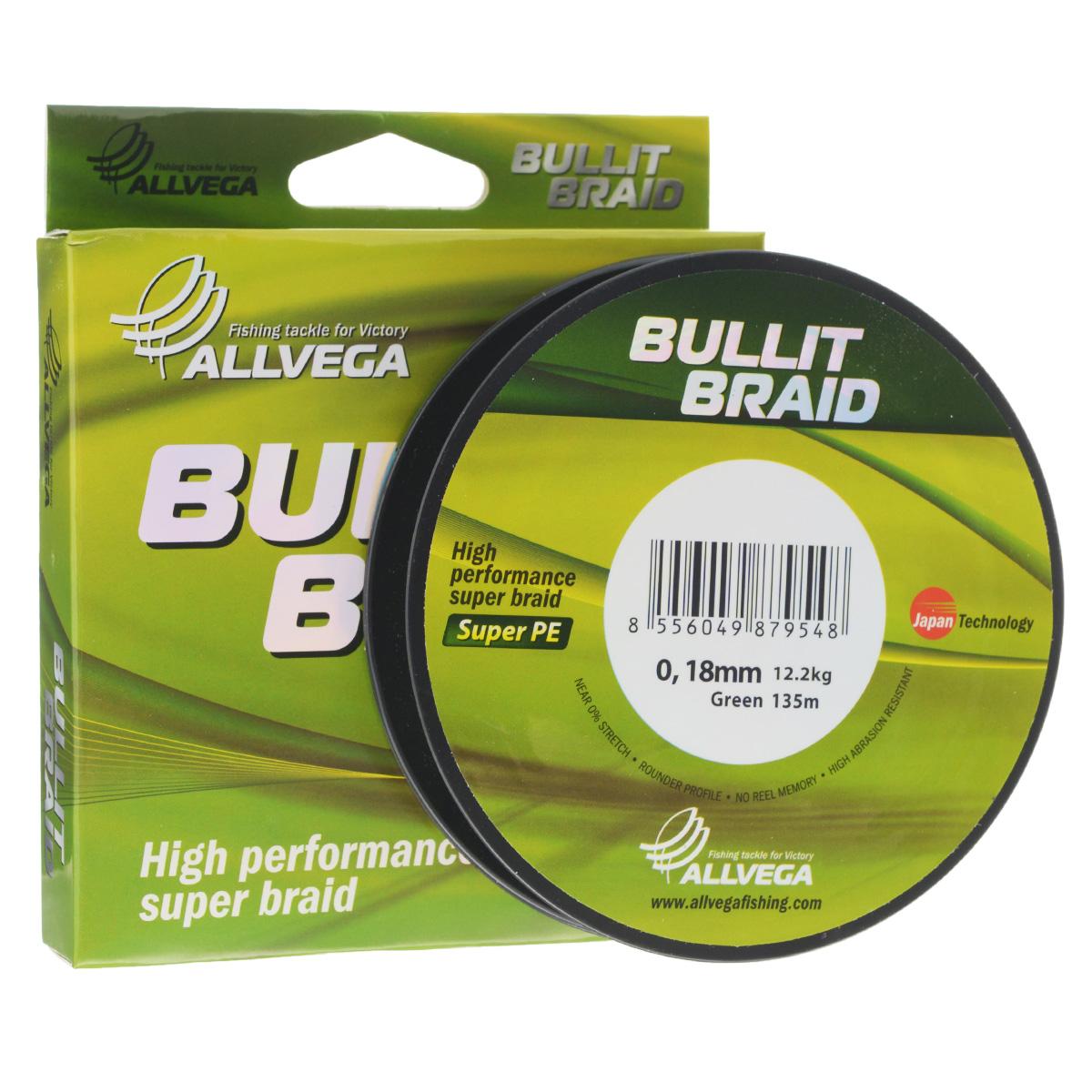 Леска плетеная Allvega Bullit Braid, цвет: темно-зеленый, 135 м, 0,18 мм, 12,2 кг03/1/12Леска Allvega Bullit Braid с гладкой поверхностью и одинаковым сечением по всей длине обладает высокой износостойкостью. Благодаря микроволокнам полиэтилена (Super PE) леска имеет очень плотное плетение и не впитывает воду. Леску Allvega Bullit Braid можно применять в любых типах водоемов. Особенности:повышенная износостойкость;высокая чувствительность - коэффициент растяжения близок к нулю;отсутствует память; идеально гладкая поверхность позволяет увеличить дальность забросов; высокая прочность шнура на узлах.