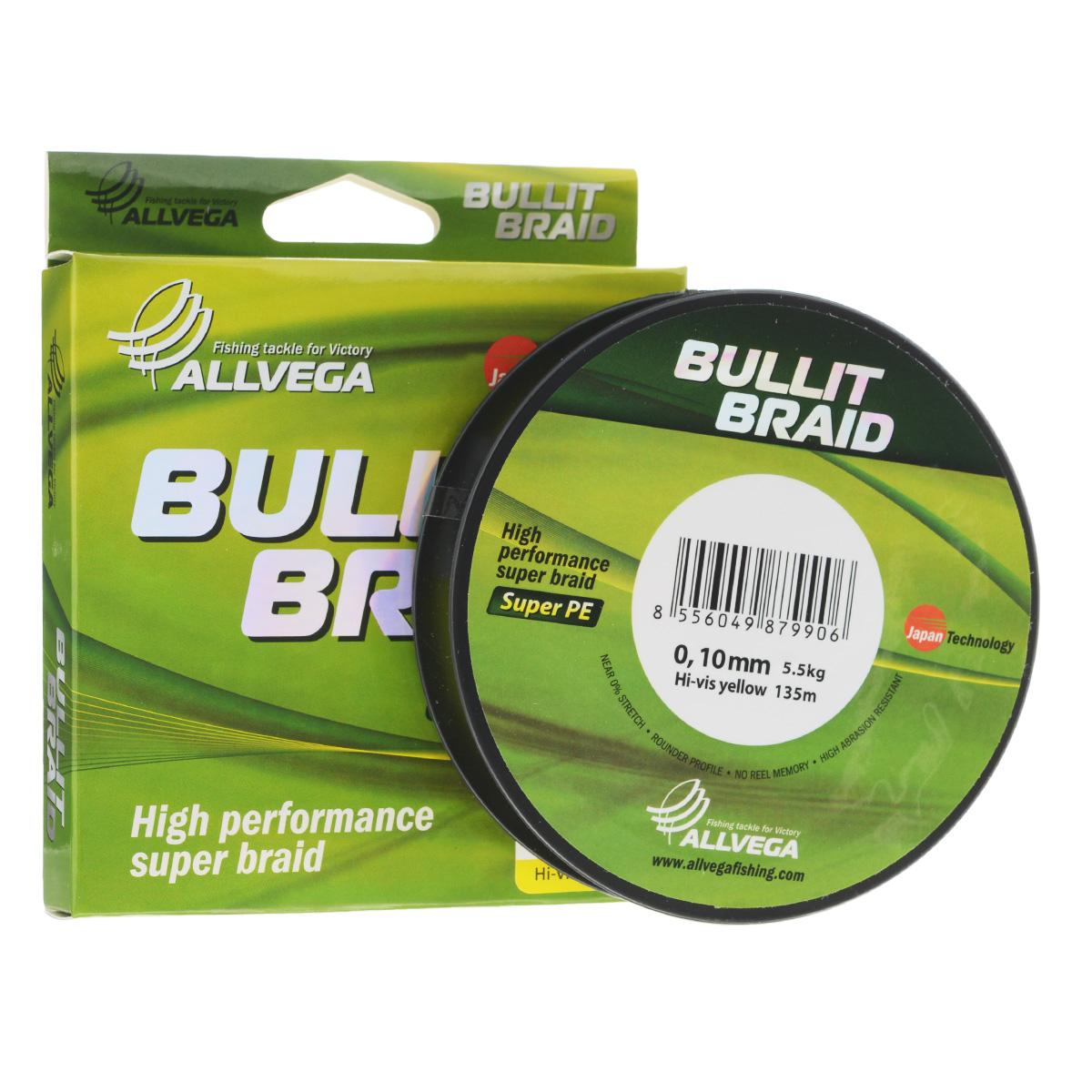 Леска плетеная Allvega Bullit Braid, цвет: ярко-желтый, 135 м, 0,10 мм, 5,5 кг03/1/12Леска Allvega Bullit Braid с гладкой поверхностью и одинаковым сечением по всей длине обладает высокой износостойкостью. Благодаря микроволокнам полиэтилена (Super PE) леска имеет очень плотное плетение и не впитывает воду. Леску Allvega Bullit Braid можно применять в любых типах водоемов. Особенности:повышенная износостойкость;высокая чувствительность - коэффициент растяжения близок к нулю;отсутствует память; идеально гладкая поверхность позволяет увеличить дальность забросов; высокая прочность шнура на узлах.