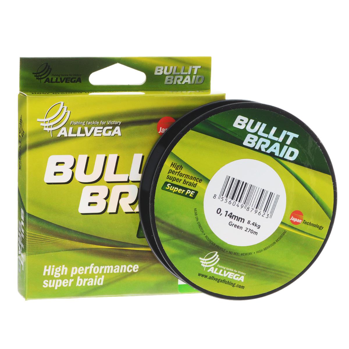 Леска плетеная Allvega Bullit Braid, цвет: темно-зеленый, 270 м, 0,14 мм, 8,4 кг10948Леска Allvega Bullit Braid с гладкой поверхностью и одинаковым сечением по всей длине обладает высокой износостойкостью. Благодаря микроволокнам полиэтилена (Super PE) леска имеет очень плотное плетение и не впитывает воду. Леску Allvega Bullit Braid можно применять в любых типах водоемов. Особенности:повышенная износостойкость;высокая чувствительность - коэффициент растяжения близок к нулю;отсутствует память; идеально гладкая поверхность позволяет увеличить дальность забросов; высокая прочность шнура на узлах.