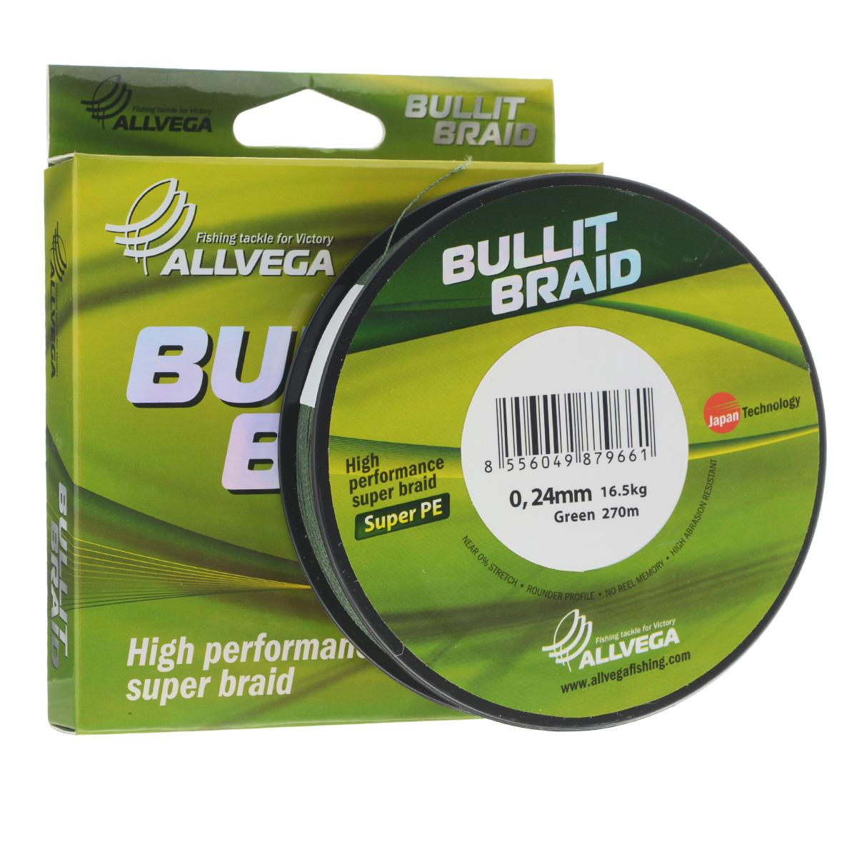 Леска плетеная Allvega Bullit Braid, цвет: темно-зеленый, 270 м, 0,24 мм, 16,5 кг25831Леска Allvega Bullit Braid с гладкой поверхностью и одинаковым сечением по всей длине обладает высокой износостойкостью. Благодаря микроволокнам полиэтилена (Super PE) леска имеет очень плотное плетение и не впитывает воду. Леску Allvega Bullit Braid можно применять в любых типах водоемов. Особенности: повышенная износостойкость; высокая чувствительность - коэффициент растяжения близок к нулю; отсутствует память; идеально гладкая поверхность позволяет увеличить дальность забросов; высокая прочность шнура на узлах.
