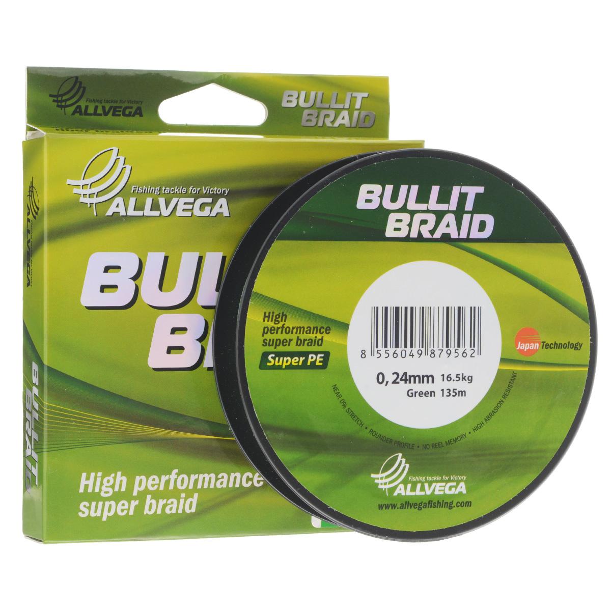 Леска плетеная Allvega Bullit Braid, цвет: темно-зеленый, 135 м, 0,24 мм, 16,5 кг21445Леска Allvega Bullit Braid с гладкой поверхностью и одинаковым сечением по всей длине обладает высокой износостойкостью. Благодаря микроволокнам полиэтилена (Super PE) леска имеет очень плотное плетение и не впитывает воду. Леску Allvega Bullit Braid можно применять в любых типах водоемов. Особенности: повышенная износостойкость; высокая чувствительность - коэффициент растяжения близок к нулю; отсутствует память; идеально гладкая поверхность позволяет увеличить дальность забросов; высокая прочность шнура на узлах.