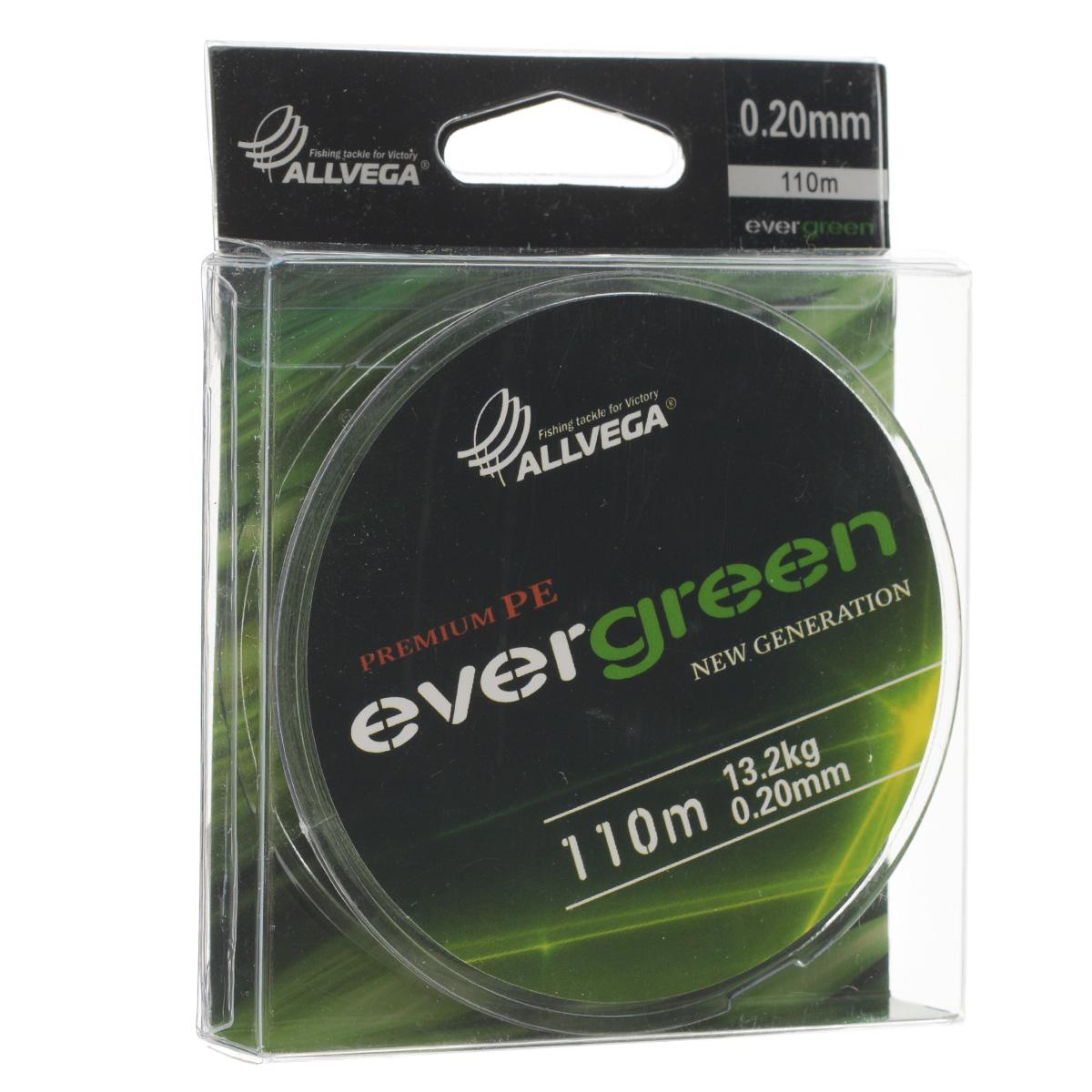 Леска плетеная Allvega Evergreen, цвет: темно-зеленый, 110 м, 0,20 мм, 13,2 кг218032Плетеная леска Allvega Evergreen очень прочная и способна выдержать сильные нагрузки. Благодаря высококачественному сырью леска Allvega Allvega Evergreen максимально устойчива к любым погодным условиям и особенностям каждого водоема. При традиционных методах производства плетеные шнуры со временем теряют свой цвет (покрытие), а вместе с ним и часть своих полезных физических свойств. Революционно новый подход в технологии изготовления лесок Allvega Evergreen позволяет забыть о проблеме потери цвета в процессе использования шнура. Он всегда будет зеленым - он просто не может быть другим!